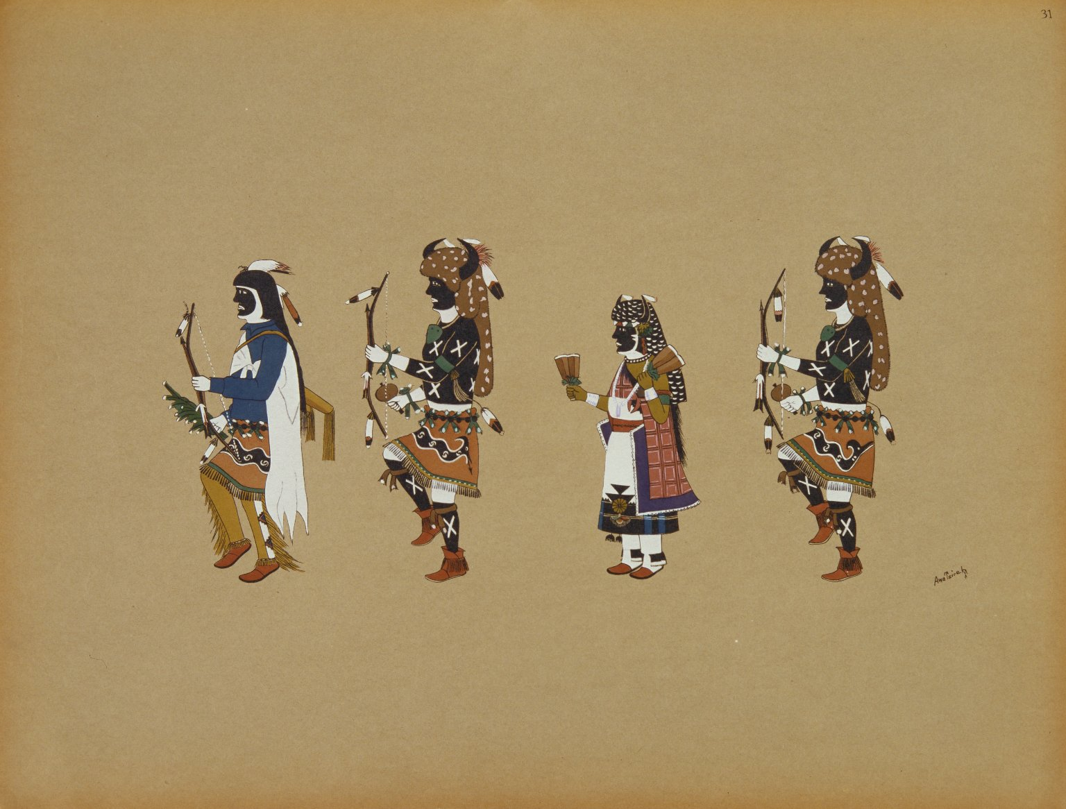 Pueblo Indian painting; 50 reproductions of watercolor paintings by Indian artists of the New Mexican pueblos of San Ildefonso and Sia