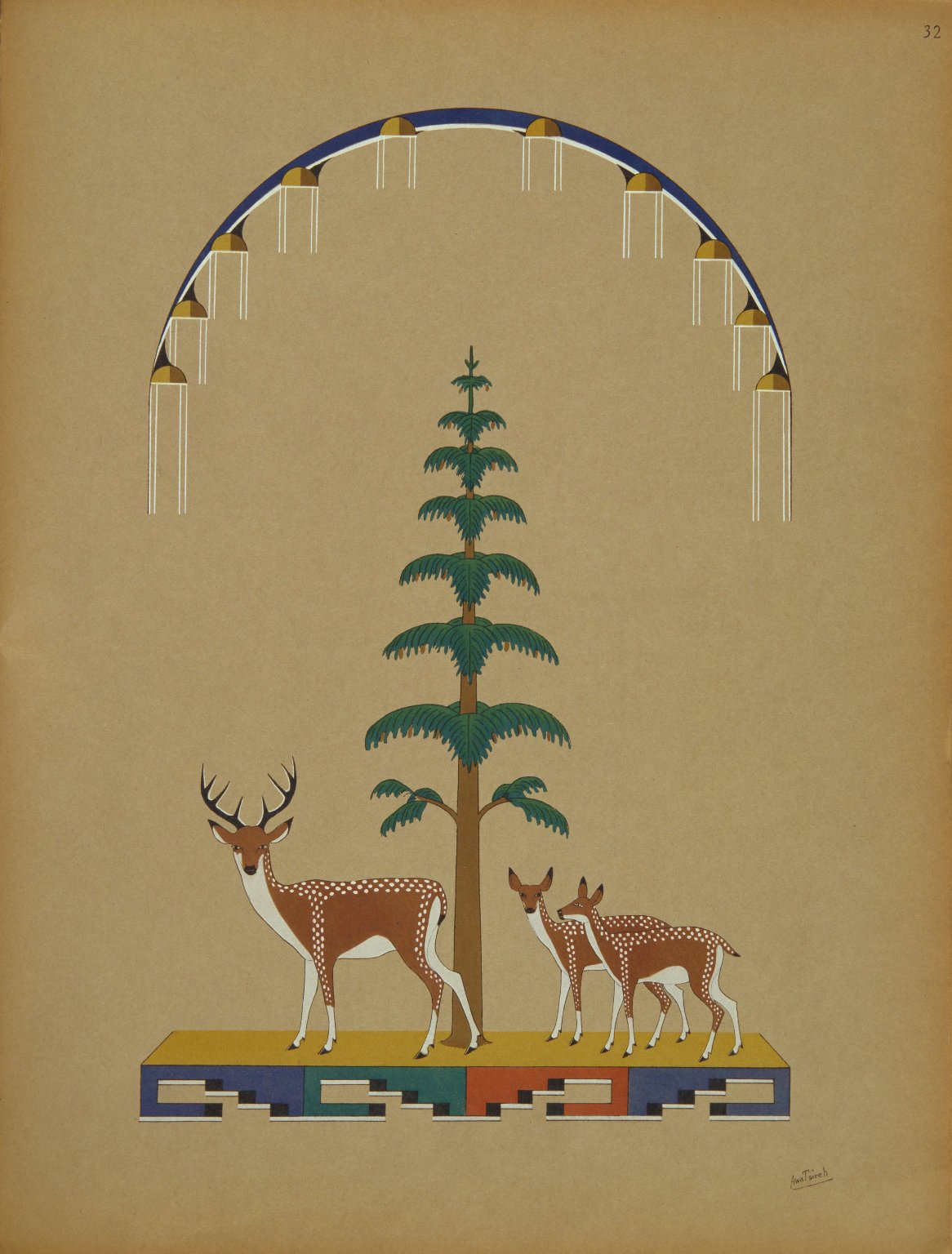 Landscape Showing Deer with Tree and Rainy Sky