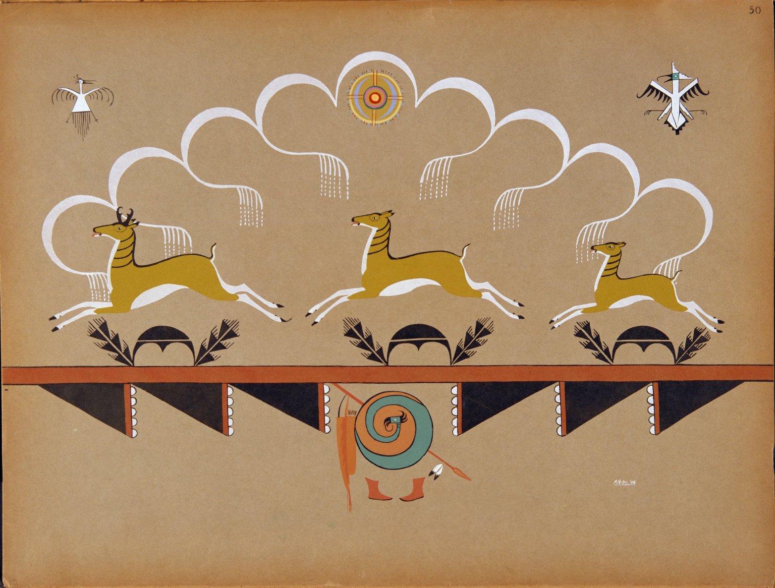 Antelopes Running Under Rainy Skies