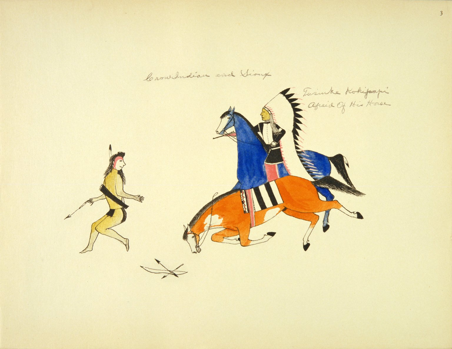 The Celebrated Sioux Chieftain Afraid-of-his-Horses (Tasinke Kokipapoi) Attacking a Crow Indian