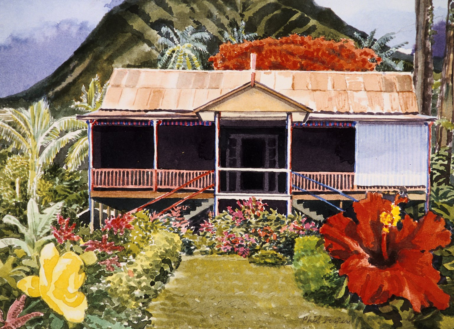 Island House with Mountain and Hibiscus