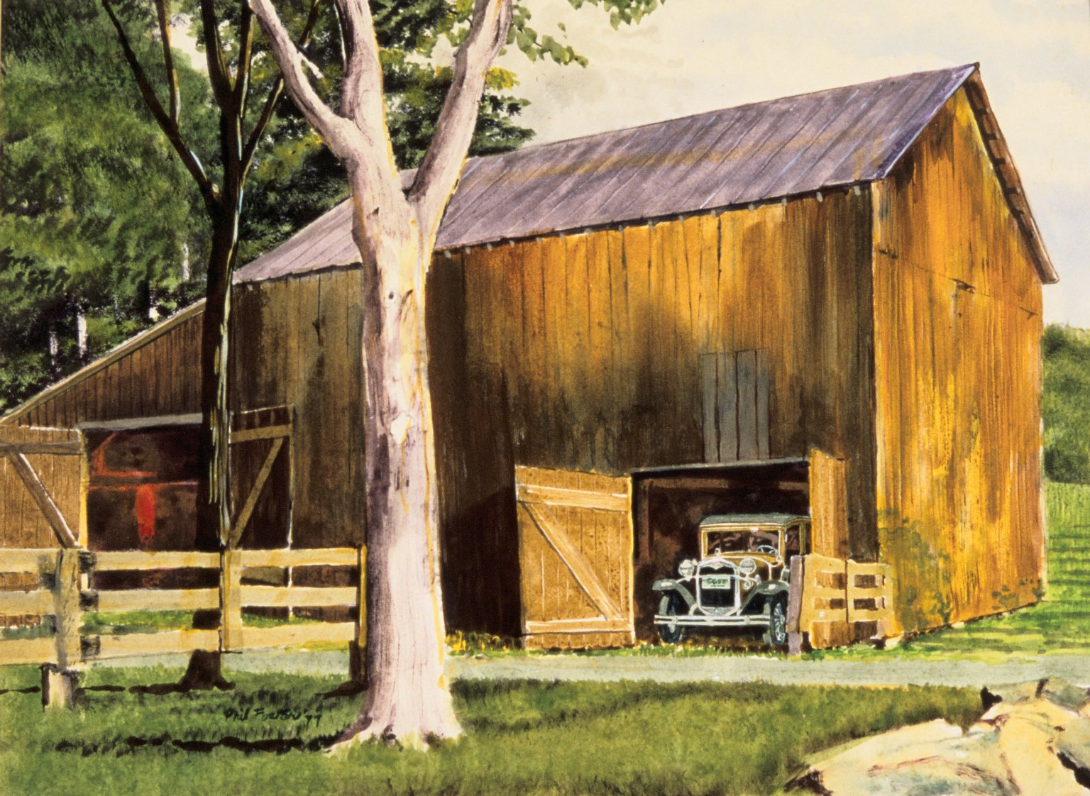 Barn with Antique Car