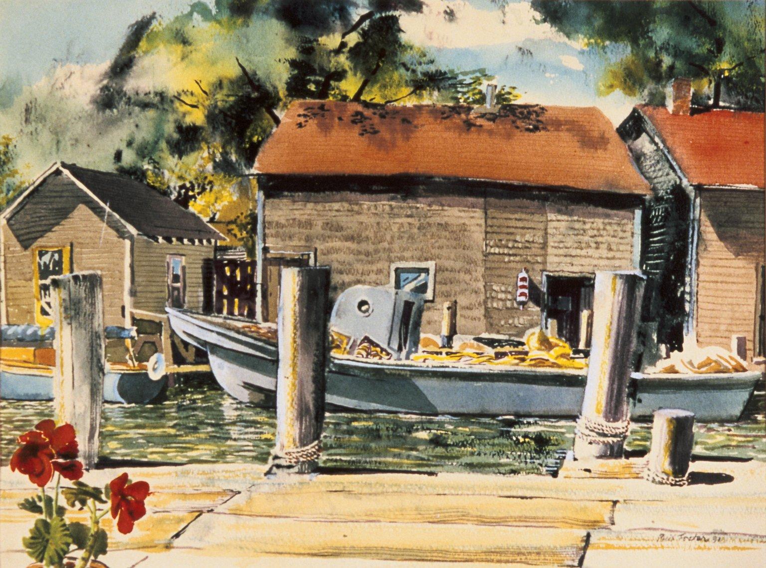 Dock with Boathouses