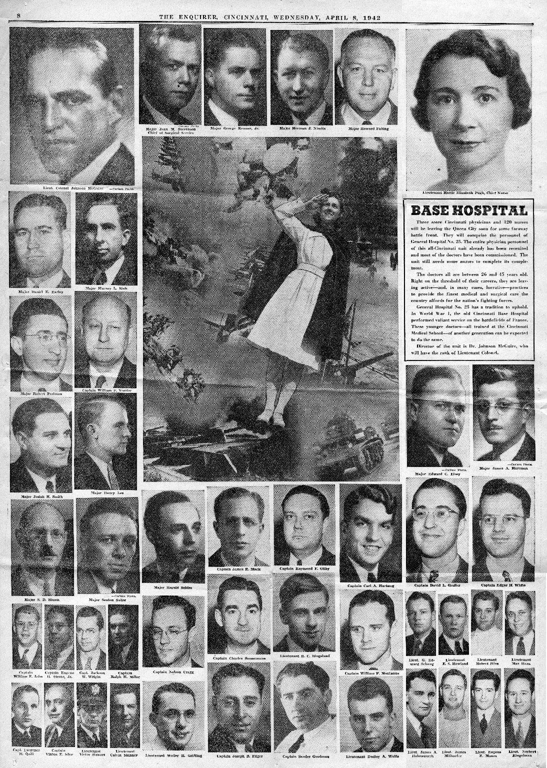 Base Hospital (Cincinnati Enquirer, April 8, 1942)