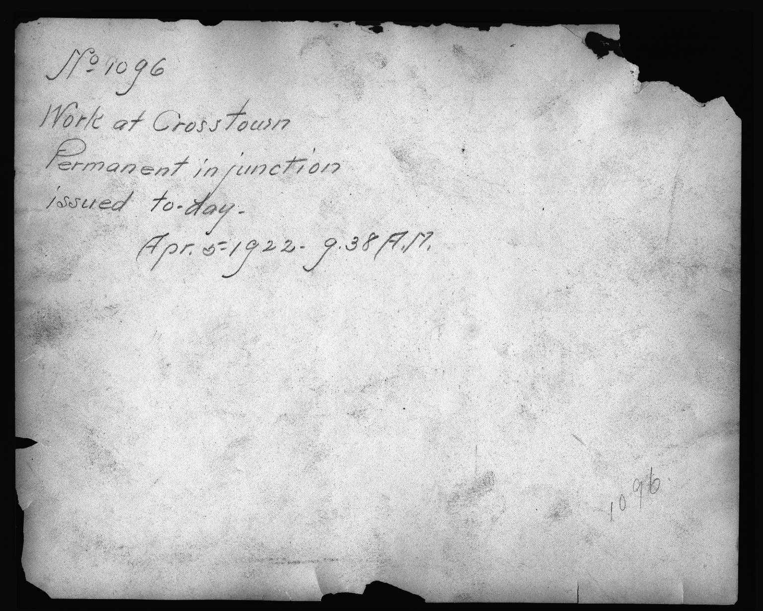 Rapid Transit Photographs -- Box 12, Folder 03 (March 8, 1922 - November 21, 1923) -- print, 1922-04-05, 9:38 A.M. (back of photograph)