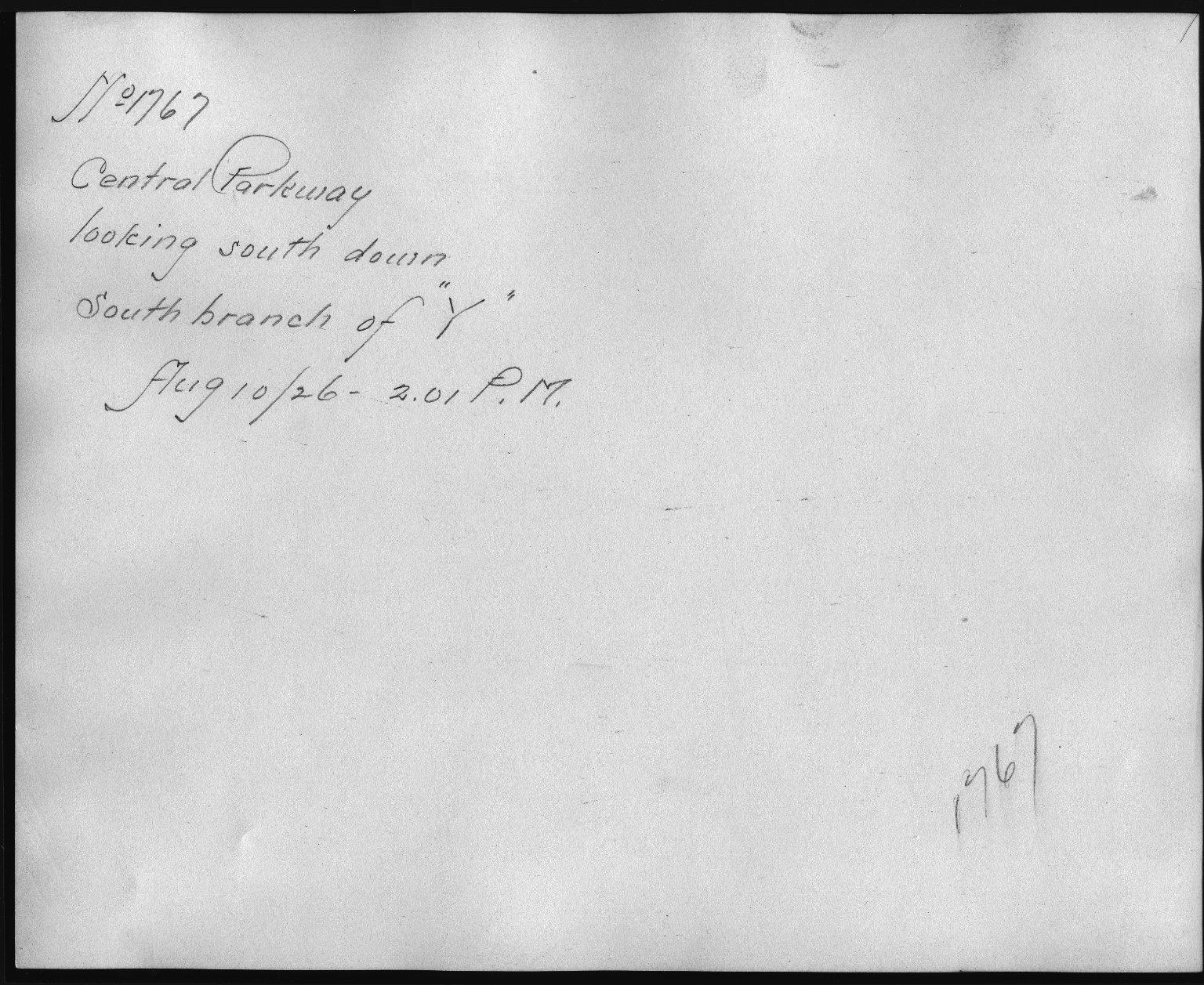 Rapid Transit Photographs -- Box 12, Folder 06 (August 10, 1926 - September 10, 1926) -- print, 1926-08-10, 2:01 P.M. (back of photograph)