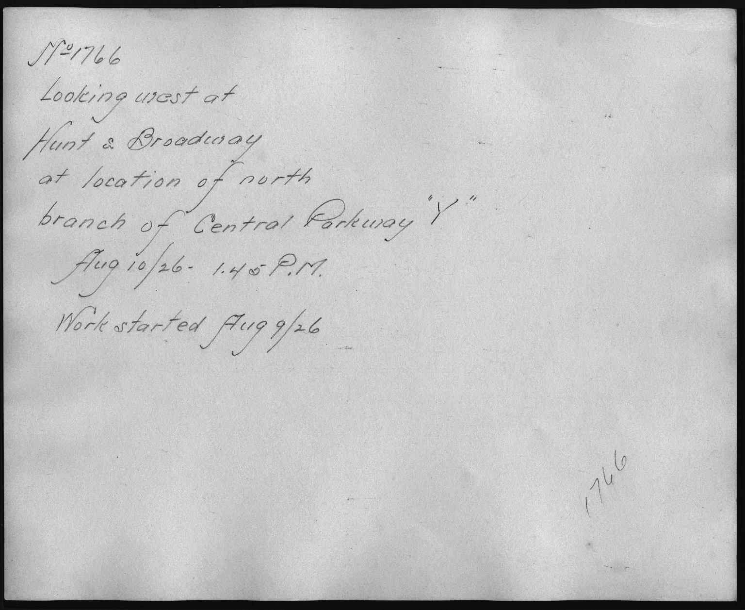 Rapid Transit Photographs -- Box 12, Folder 06 (August 10, 1926 - September 10, 1926) -- print, 1926-08-10, 1:45 P.M. (back of photograph)