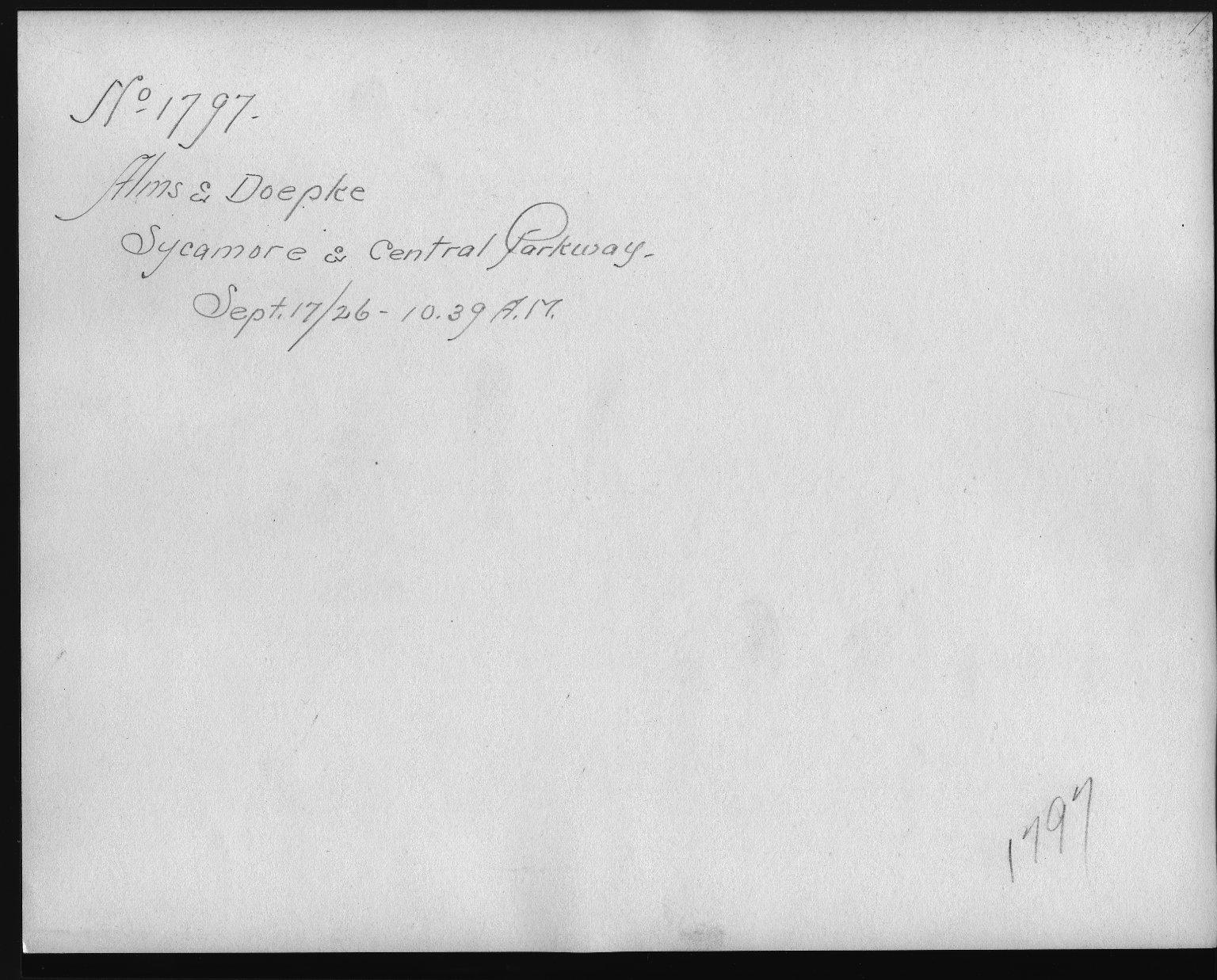 Rapid Transit Photographs -- Box 12, Folder 08 (September 15, 1926 - September 17, 1926) -- print, 1926-09-17, 10:39 A.M. (back of photograph)