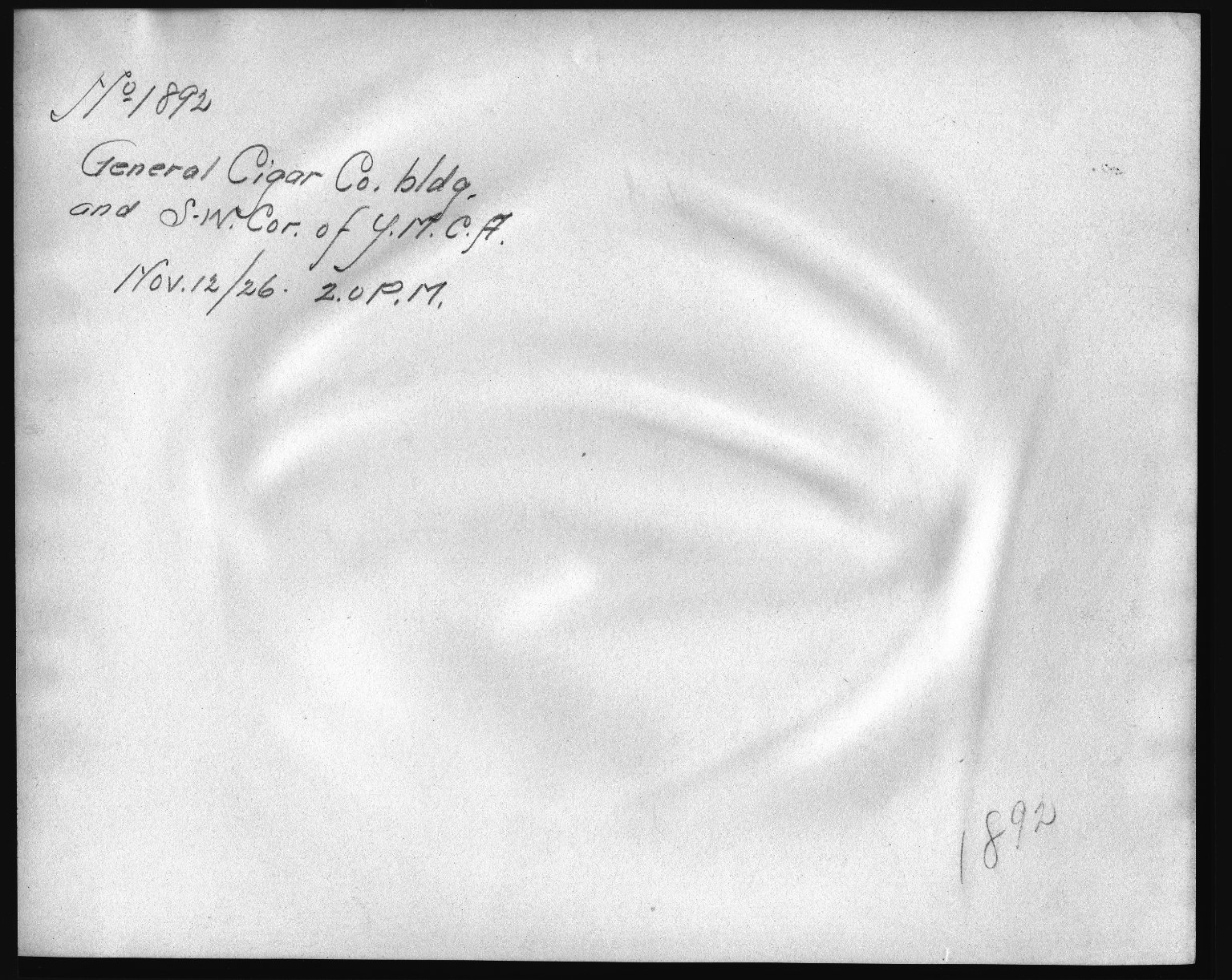 Rapid Transit Photographs -- Box 12, Folder 22 (November 12, 1926) -- print, 1926-11-12, 2:00 P.M. (back of photograph)