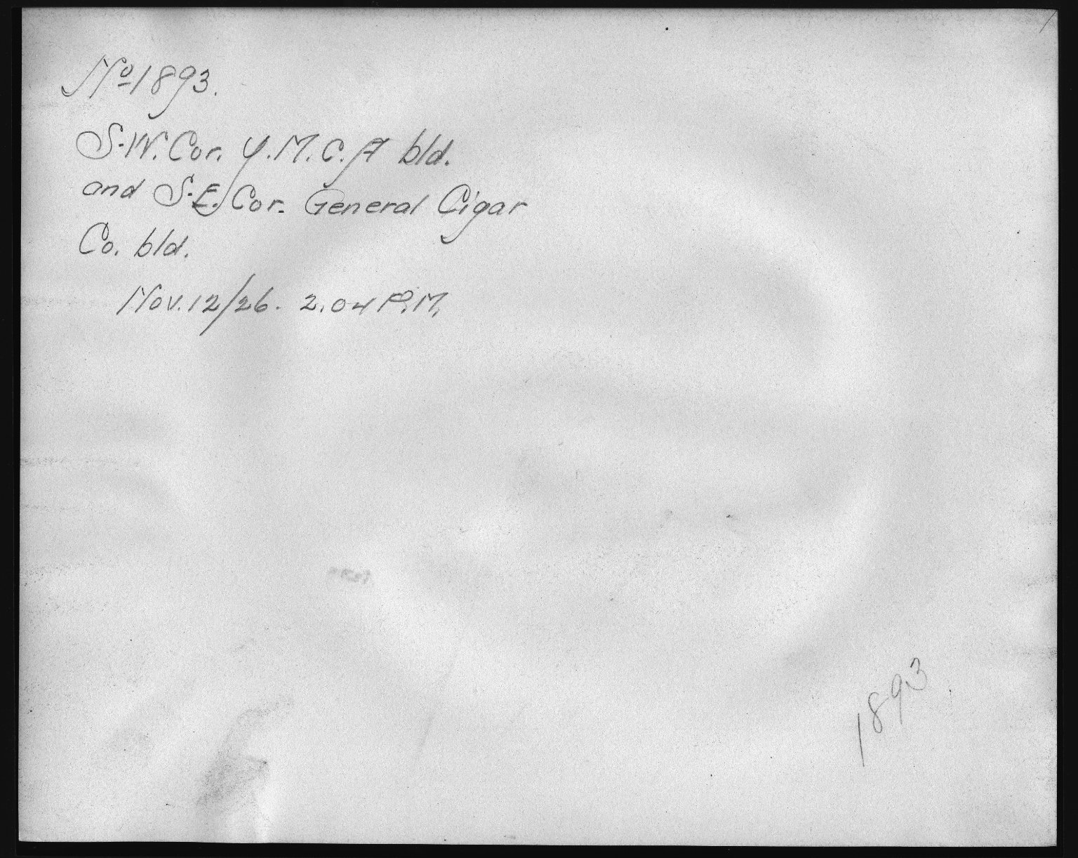 Rapid Transit Photographs -- Box 12, Folder 22 (November 12, 1926) -- print, 1926-11-12, 2:04 P.M. (back of photograph)