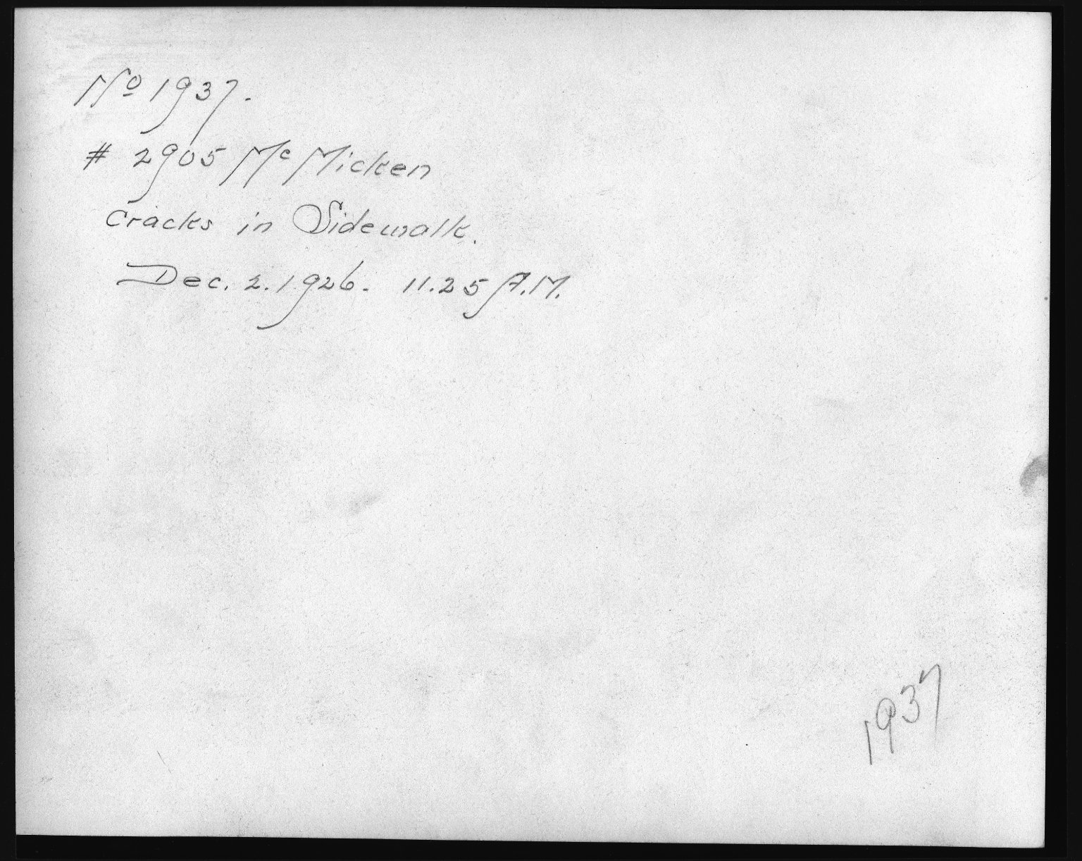 Rapid Transit Photographs -- Box 12, Folder 25 (November 30, 1926 - December 2, 1926) -- print, 1926-12-02, 11:25 A.M. (back of photograph)