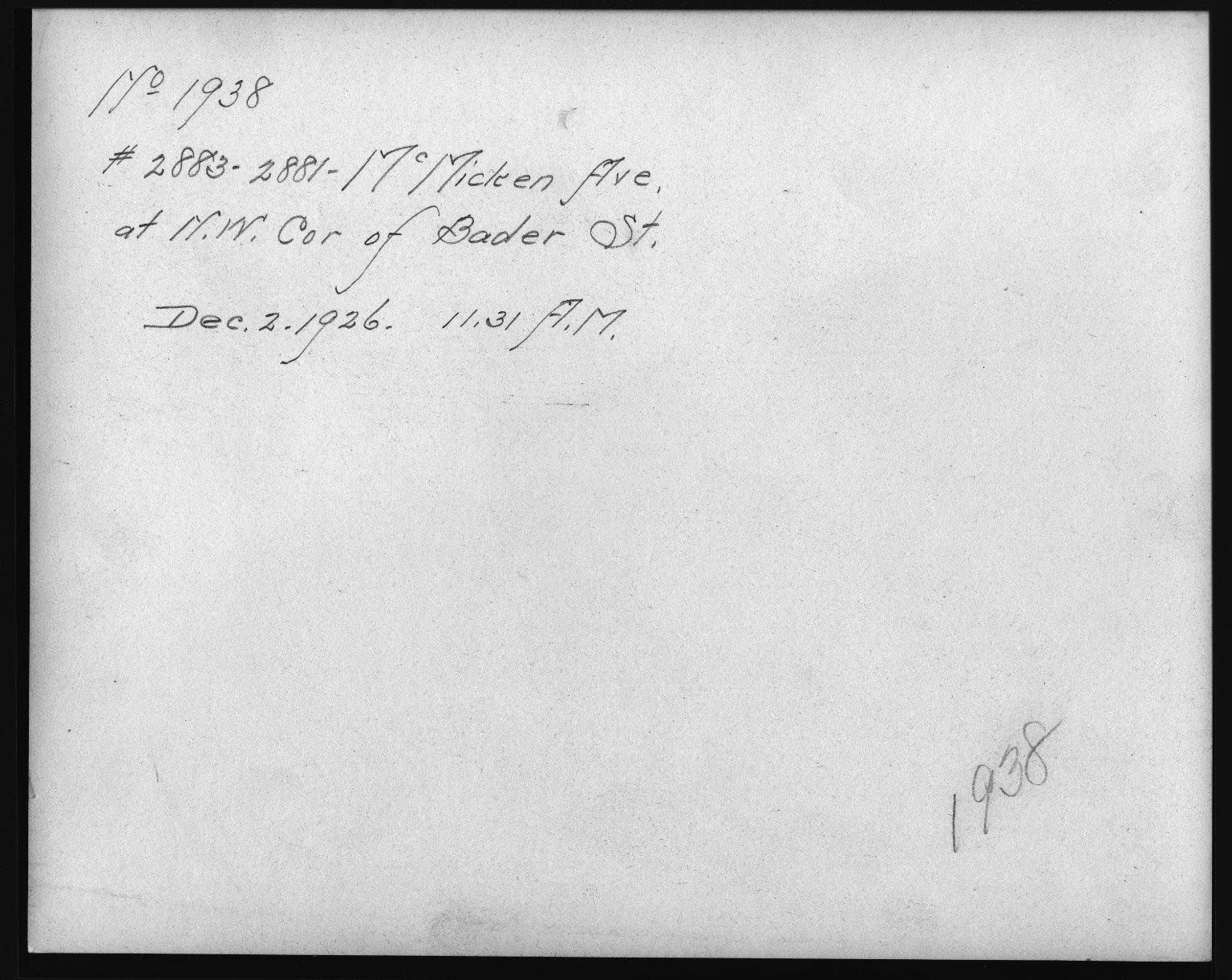 Rapid Transit Photographs -- Box 12, Folder 25 (November 30, 1926 - December 2, 1926) -- print, 1926-12-02, 11:31 A.M. (back of photograph)
