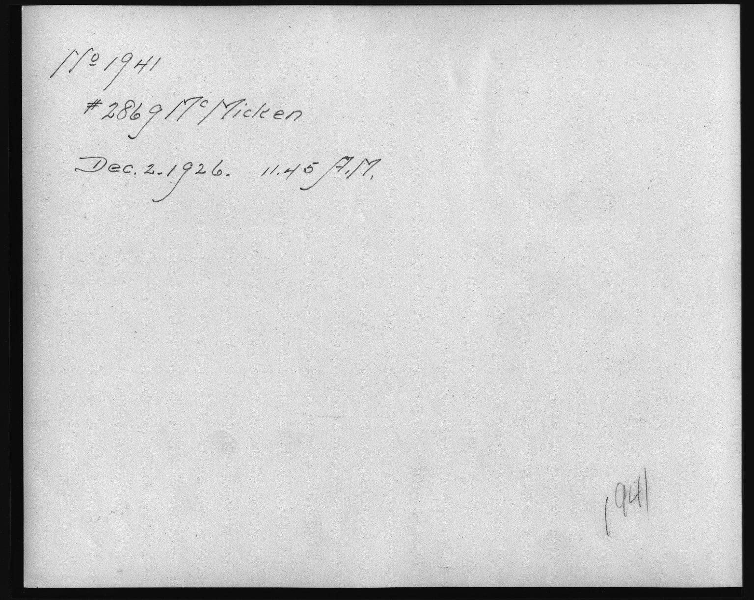 Rapid Transit Photographs -- Box 12, Folder 26 (December 2, 1926) -- print, 1926-12-02, 11:45 A.M. (back of photograph)