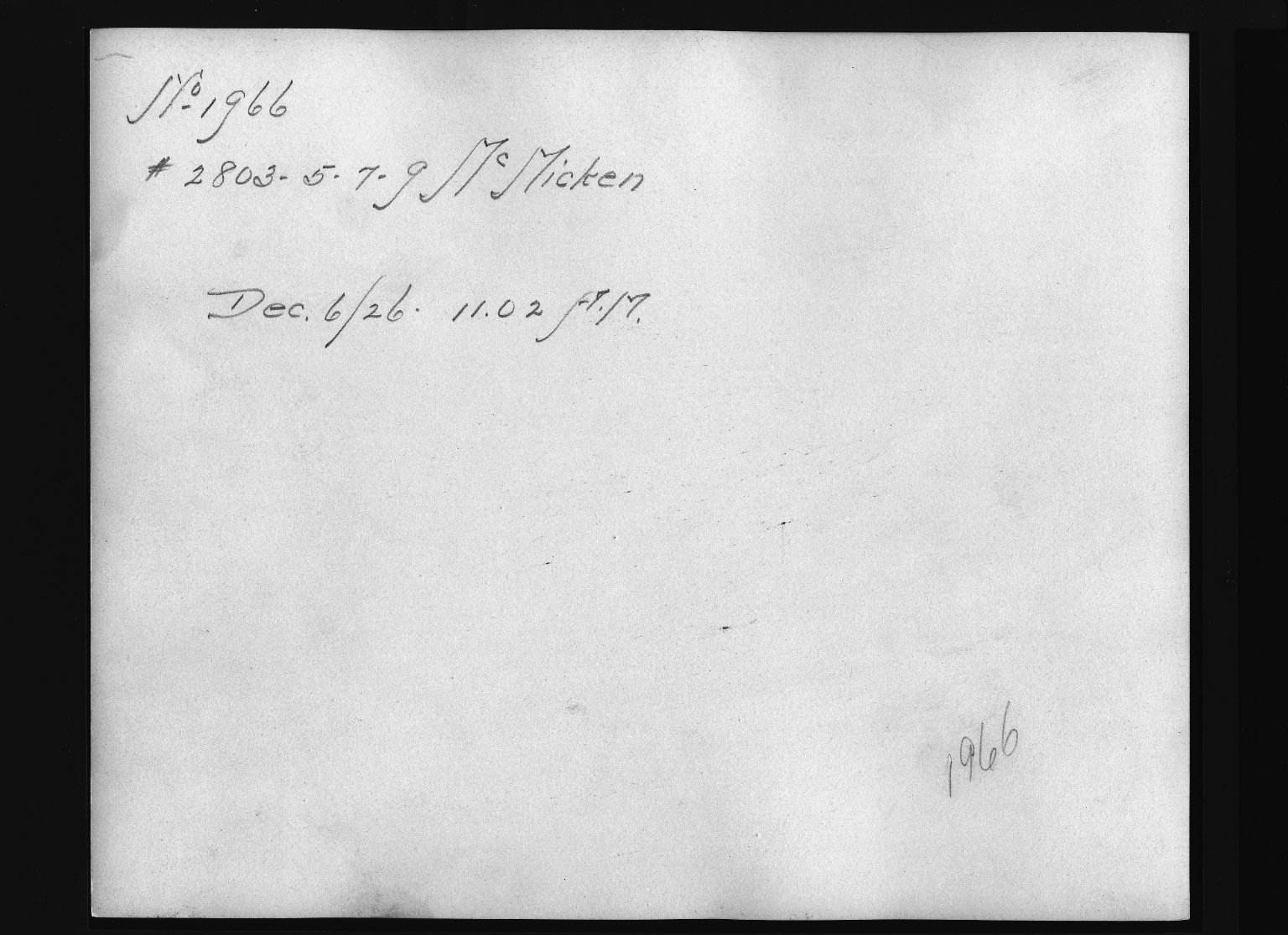 Rapid Transit Photographs -- Box 12, Folder 29 (December 3, 1926 - December 6, 1926) -- print, 1926-12-06, 11:02 A.M. (back of photograph)