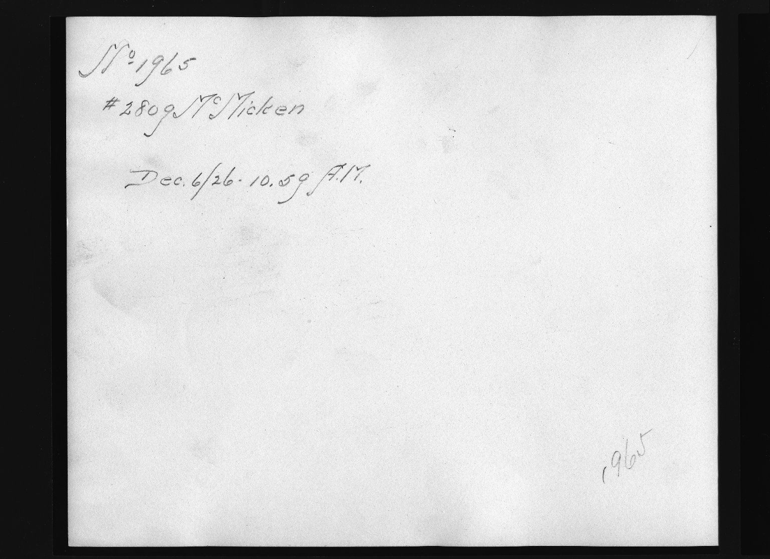 Rapid Transit Photographs -- Box 12, Folder 29 (December 3, 1926 - December 6, 1926) -- print, 1926-12-06, 10:59 A.M. (back of photograph)