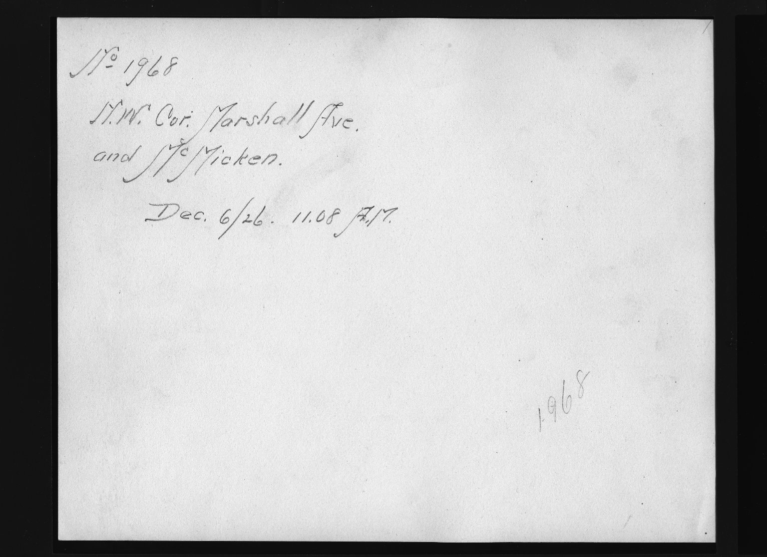 Rapid Transit Photographs -- Box 12, Folder 30 (December 6, 1926) -- print, 1926-12-06, 11:08 A.M. (back of photograph)