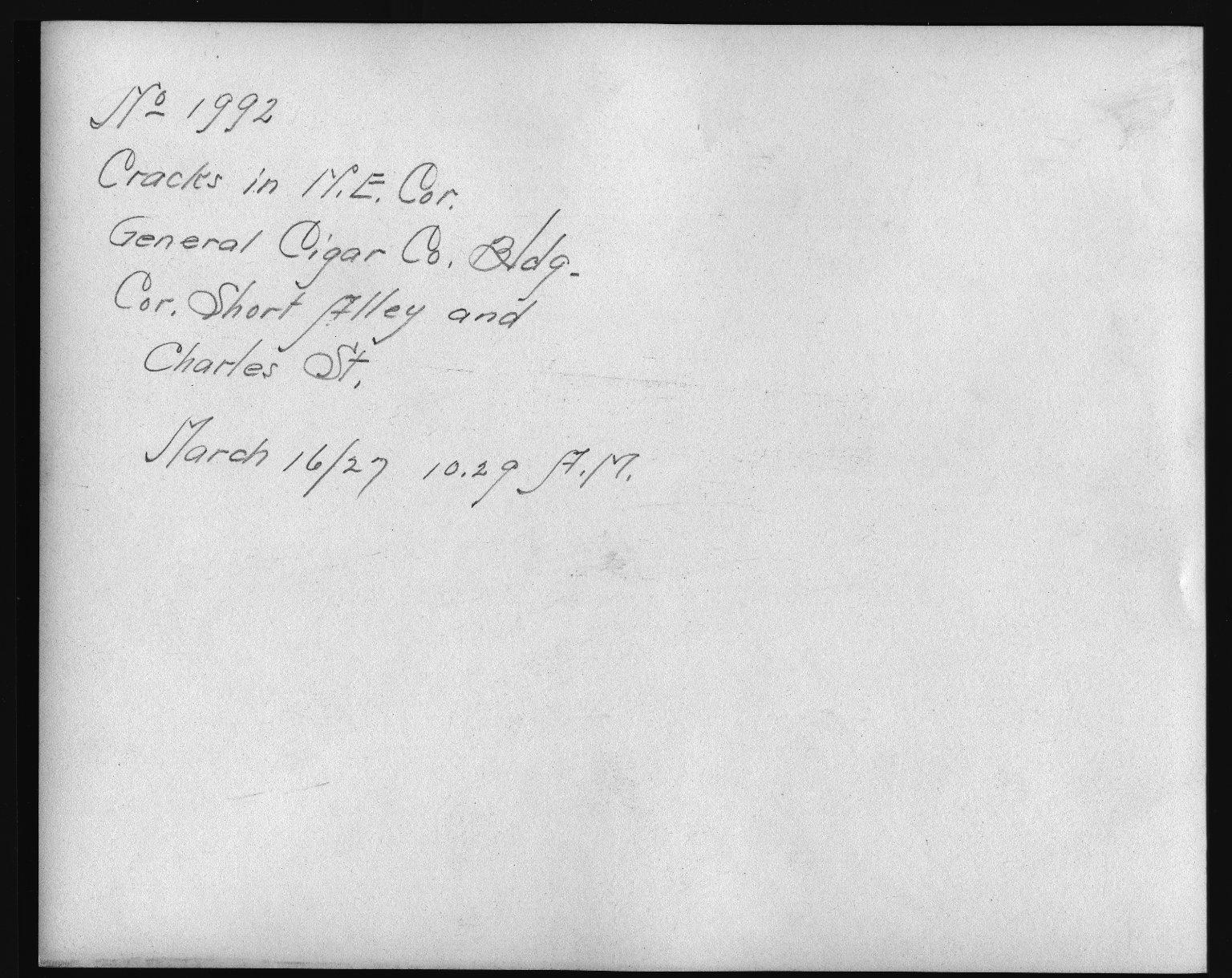Rapid Transit Photographs -- Box 12, Folder 33 (March 16, 1927 - April 6, 1927) -- print, 1927-03-16, 10:29 A.M. (back of photograph)