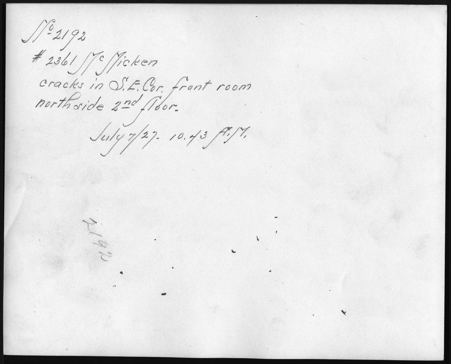 Rapid Transit Photographs -- Box 12, Folder 47 (July 6, 1927 - July 7, 1927) -- print, 1927-07-07, 10:43 A.M. (back of photograph)