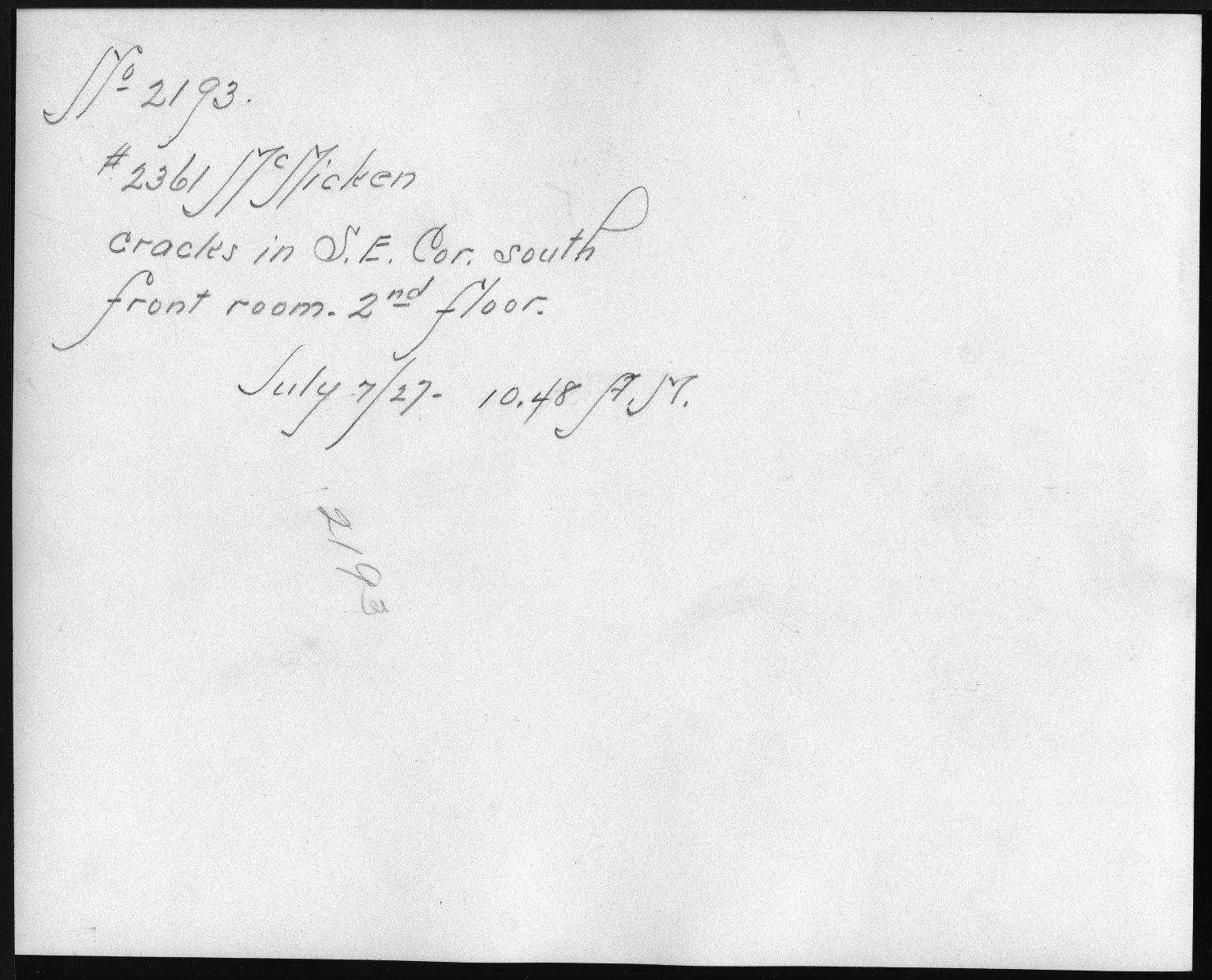 Rapid Transit Photographs -- Box 12, Folder 47 (July 6, 1927 - July 7, 1927) -- print, 1927-07-07, 10:48 A.M. (back of photograph)