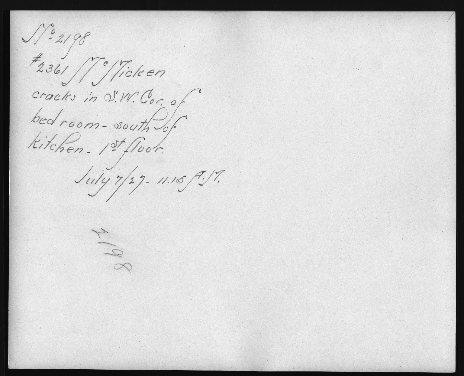 Rapid Transit Photographs -- Box 12, Folder 48 (July 7, 1927) -- print, 1927-07-07, 11:15 A.M. (back of photograph)