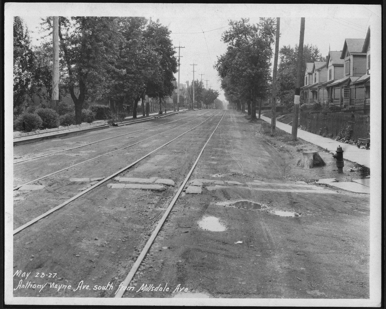 Street Improvement Photographs -- Box 21, Folder 06 (Anthony Wayne Avenue) -- print, 1927-05-23