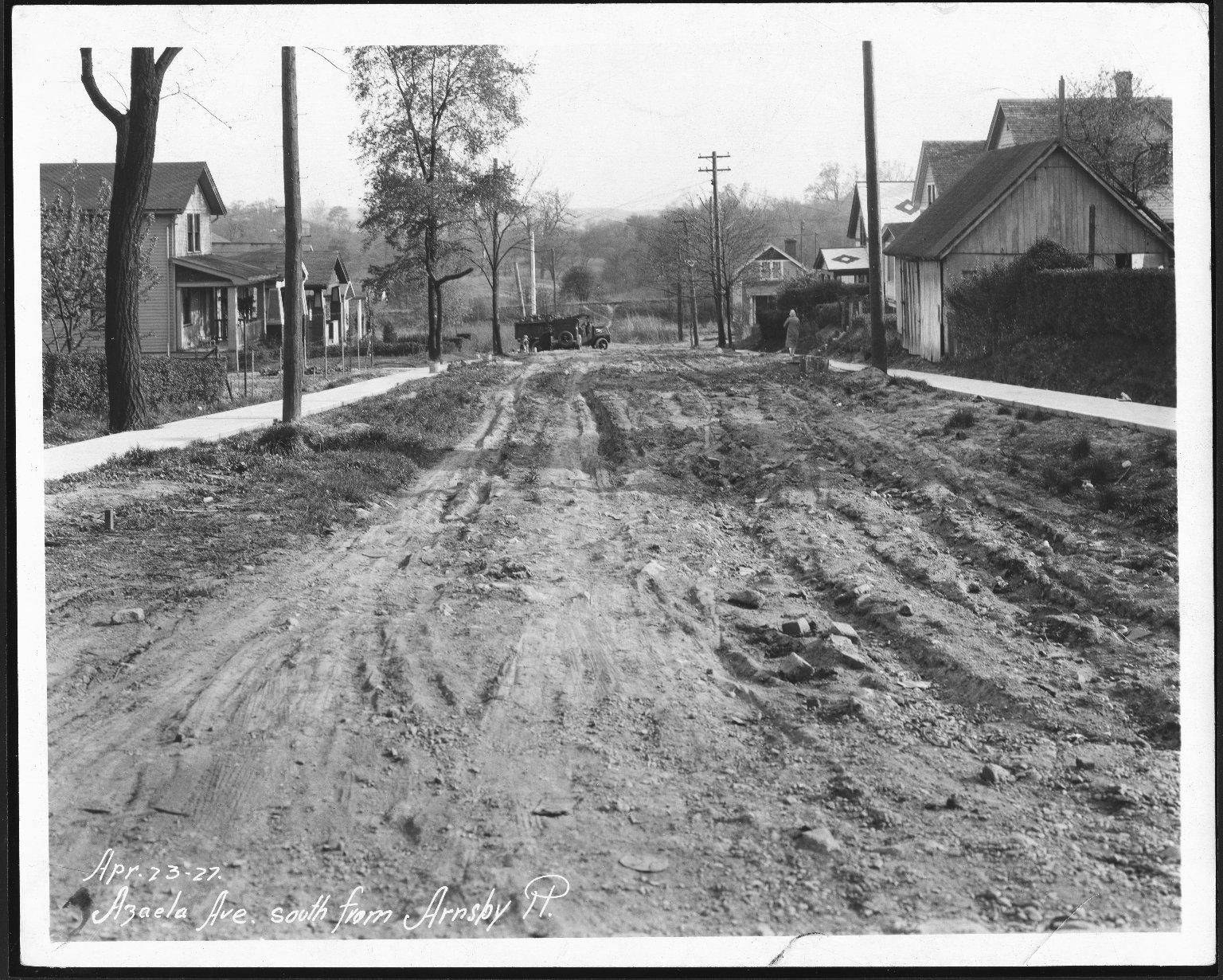 Street Improvement Photographs -- Box 21, Folder 12 (Azalea Avenue) -- print, 1927-04-23