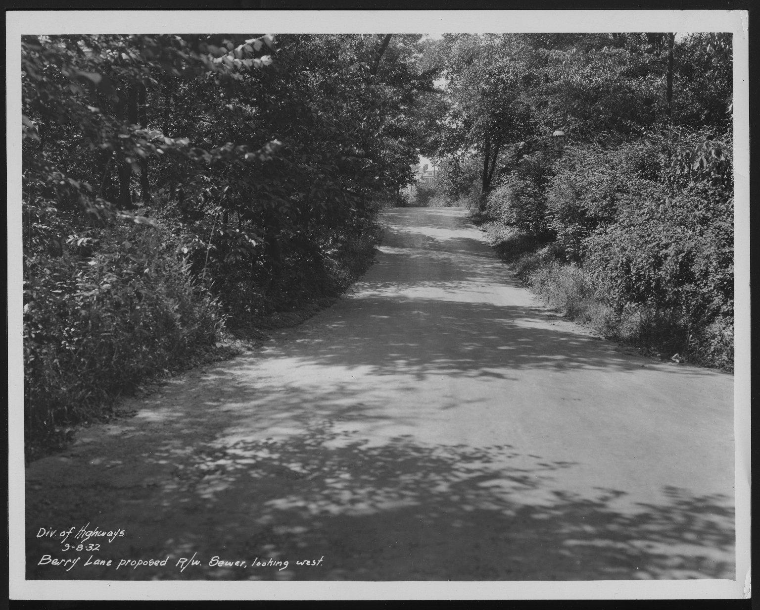 Street Improvement Photographs -- Box 21, Folder 17 (Barry Lane) -- print, 1932-09-08