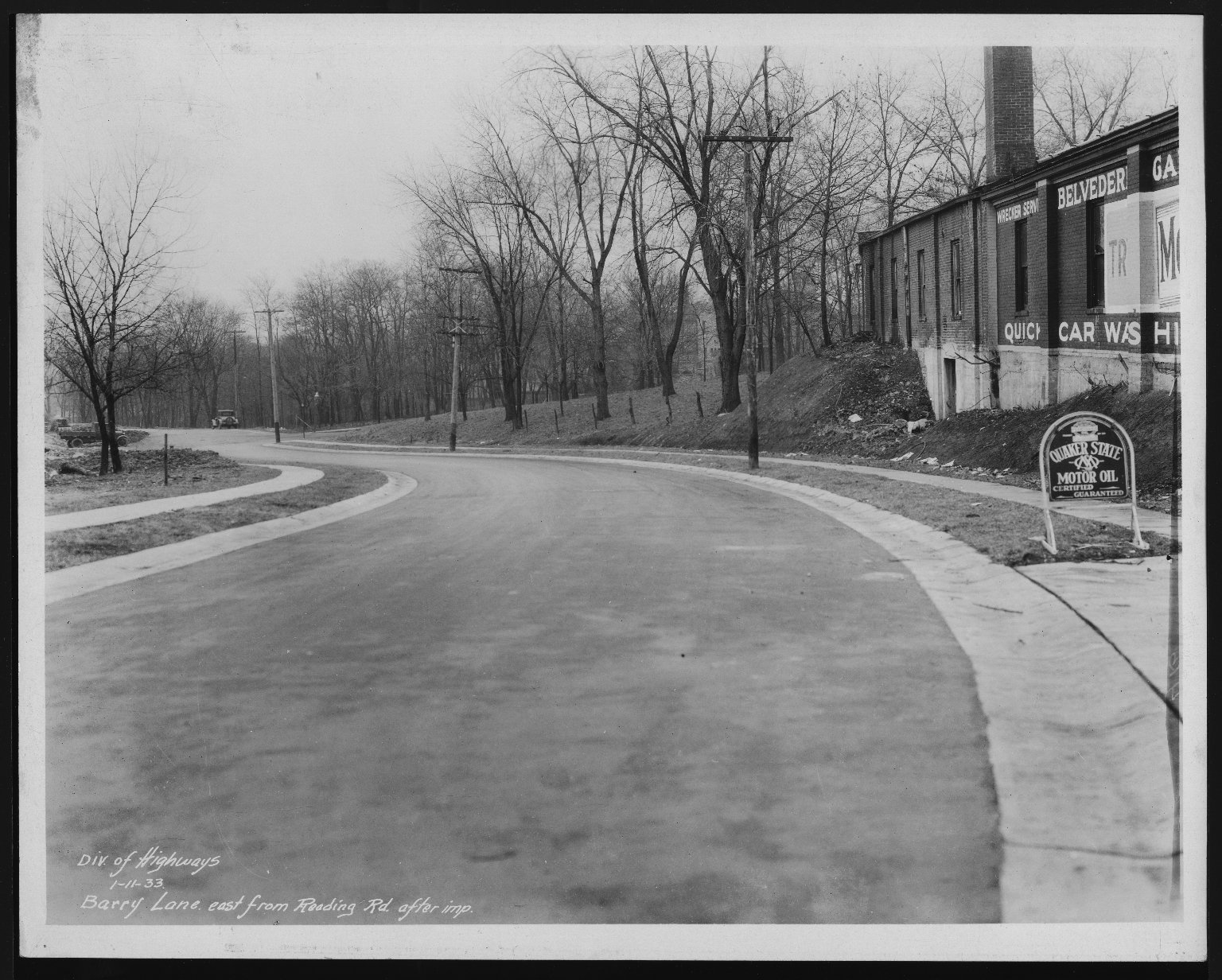 Street Improvement Photographs -- Box 21, Folder 17 (Barry Lane) -- print, 1933-01-11