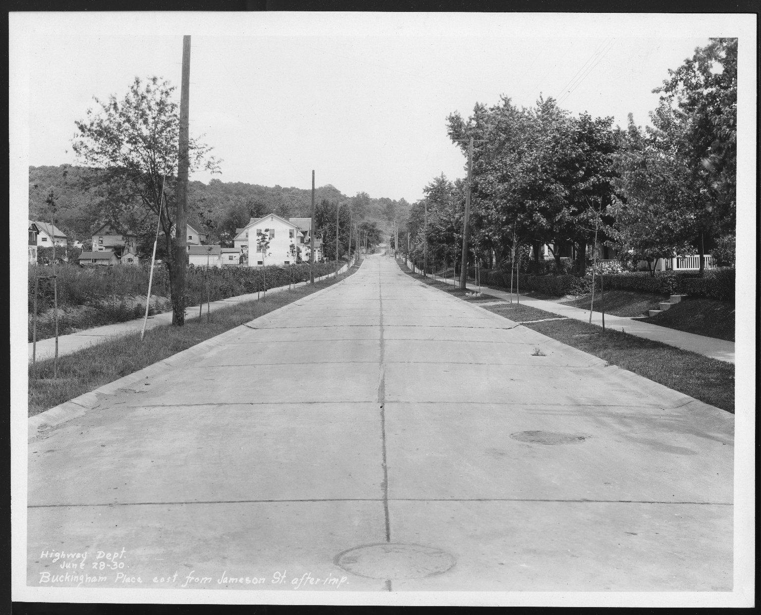 Street Improvement Photographs -- Box 21, Folder 42 (Buckingham Place) -- print, 1930-06-28