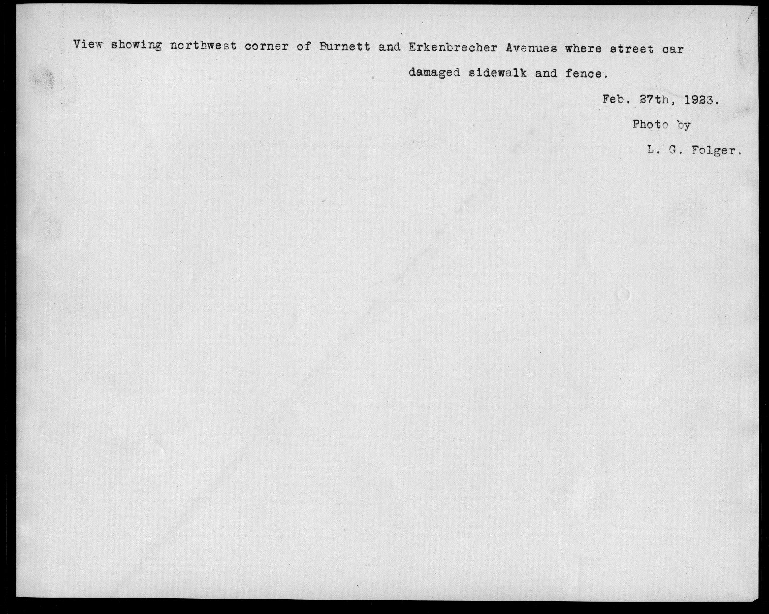 Street Improvement Photographs -- Box 21, Folder 45 (Burnet Avenue) -- print, 1923-02-27 (back of photograph)