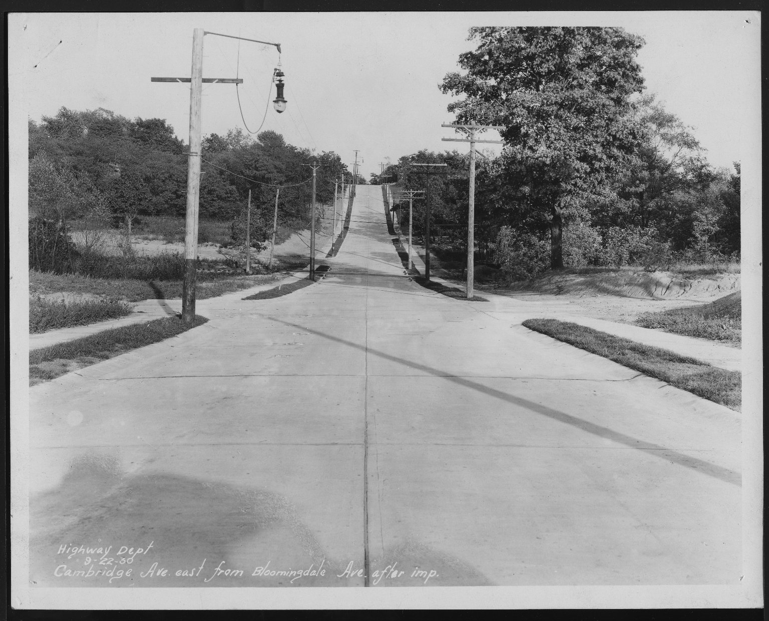 Street Improvement Photographs -- Box 21, Folder 47 (Cambridge Avenue) -- print, 1930-09-22