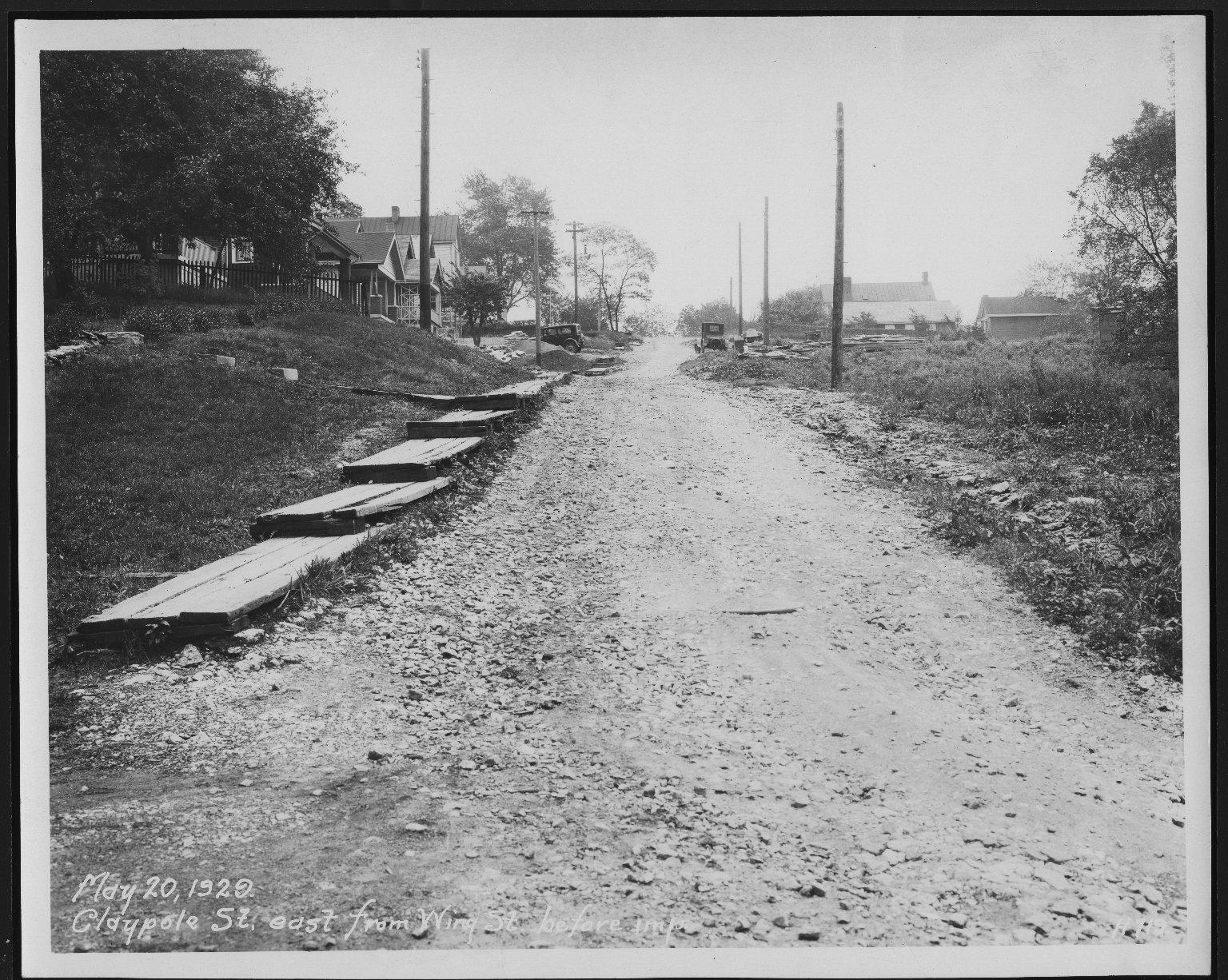 Street Improvement Photographs -- Box 21, Folder 59 (Claypole Street) -- print, 1928-04-02