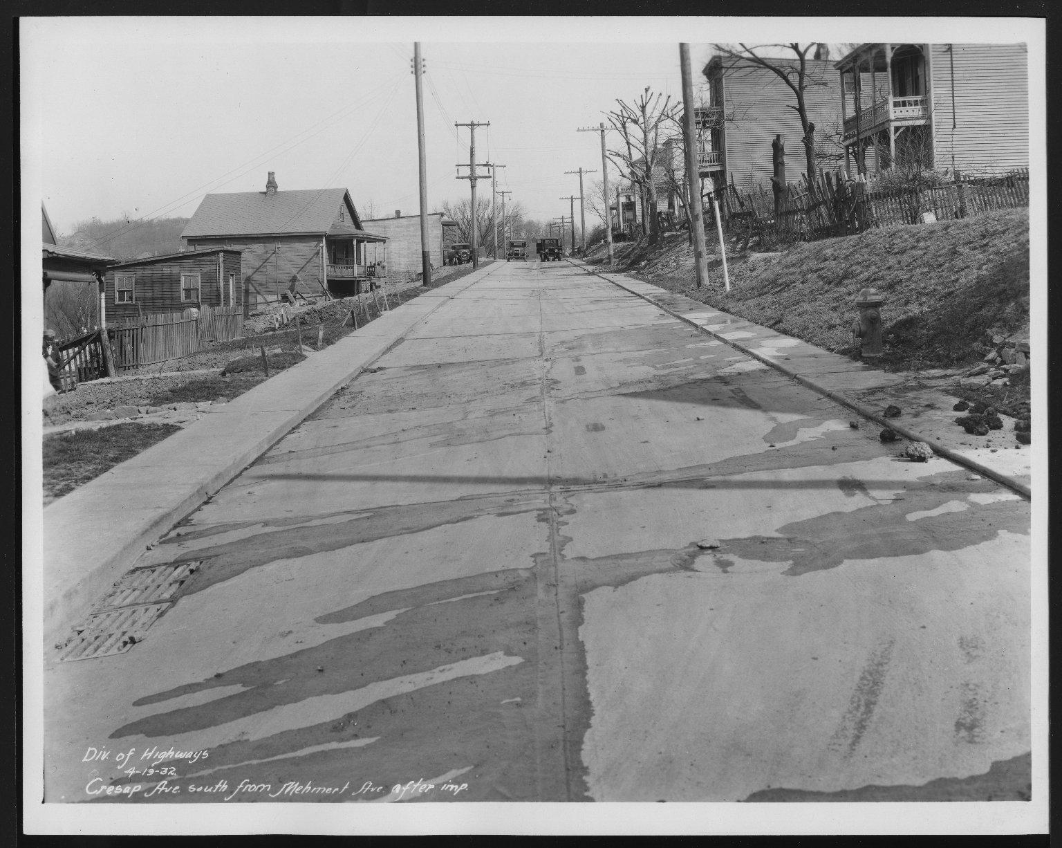 Street Improvement Photographs -- Box 22, Folder 04 (Cresap Avenue) -- print, 1932-04-19