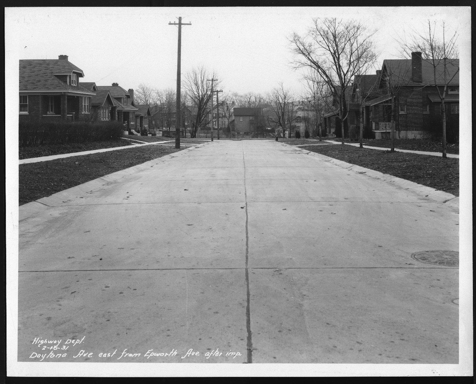 Street Improvement Photographs -- Box 22, Folder 21 (Daytona Avenue) -- print, 1931-02-16