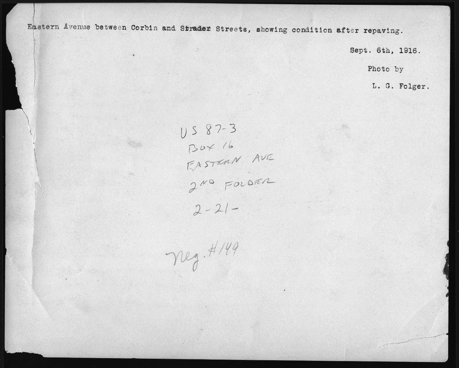 Street Improvement Photographs -- Box 22, Folder 47 (Eastern Avenue) -- print, 1916-09-06 (back of photograph)