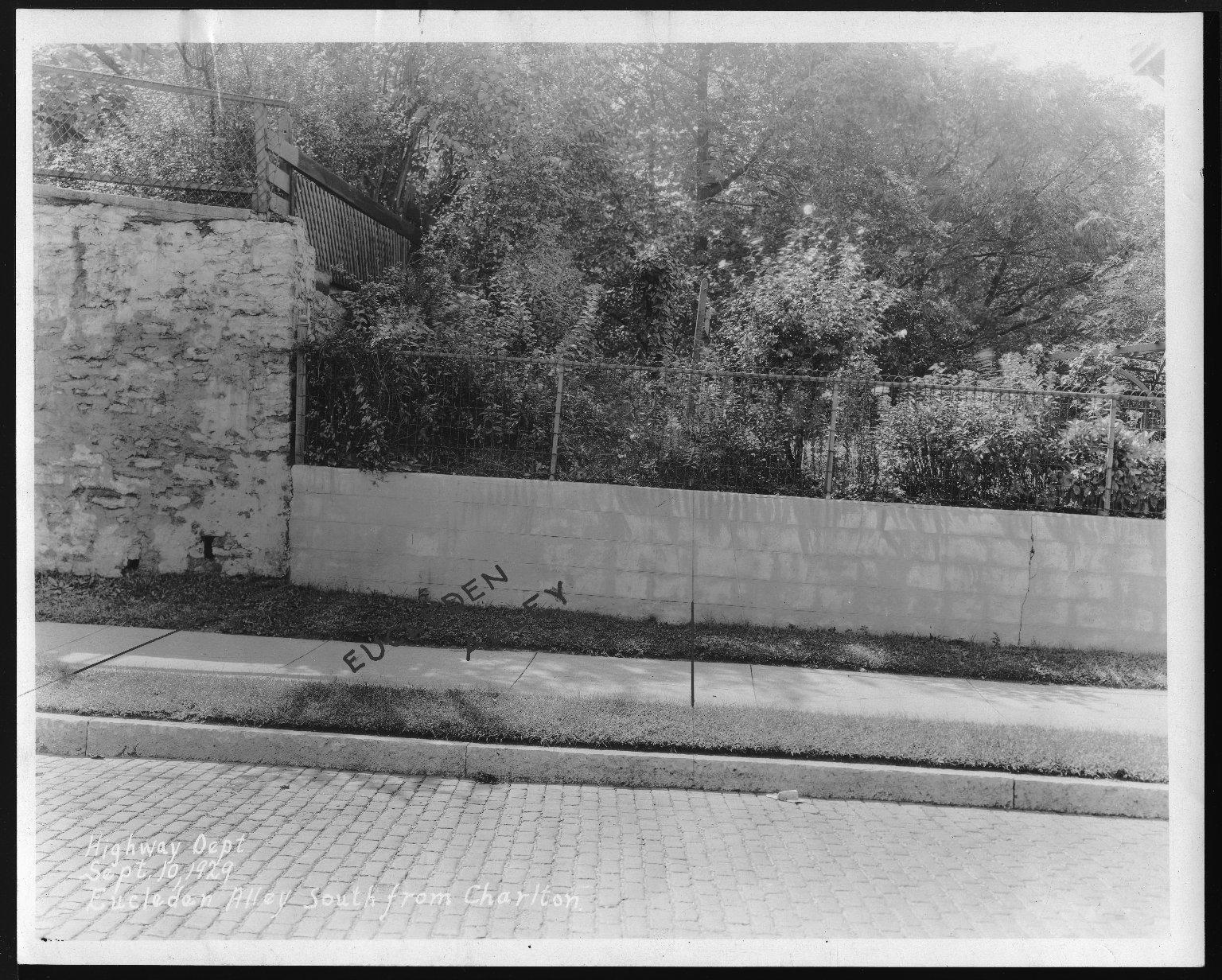 Street Improvement Photographs -- Box 23, Folder 10 (Eucledan Alley) -- print, 1929-09-10