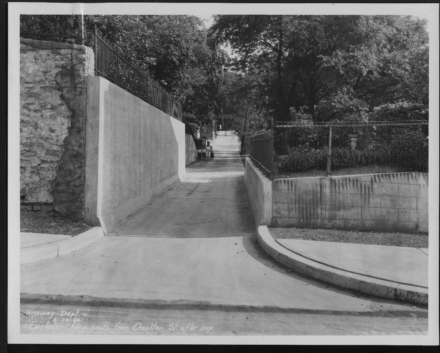 Street Improvement Photographs -- Box 23, Folder 10 (Eucledan Alley) -- print, 1930-05-26
