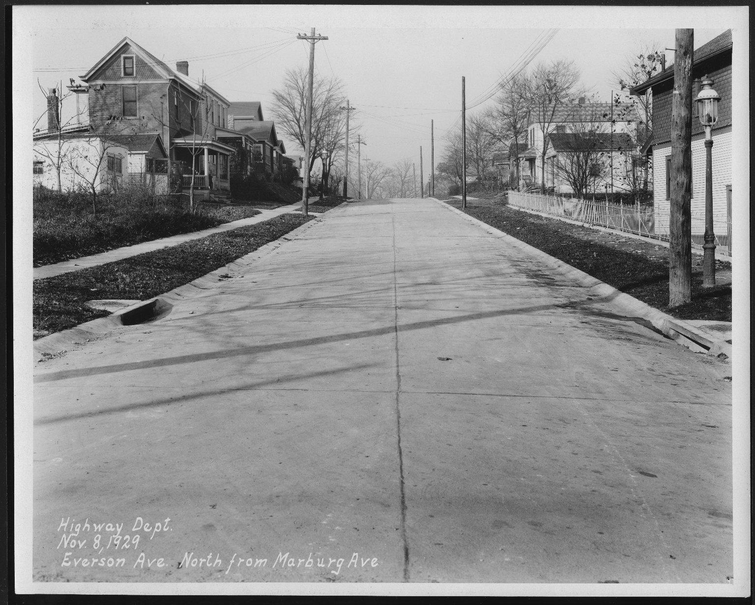 Street Improvement Photographs -- Box 23, Folder 13 (Everson Avenue) -- print, 1929-11-08