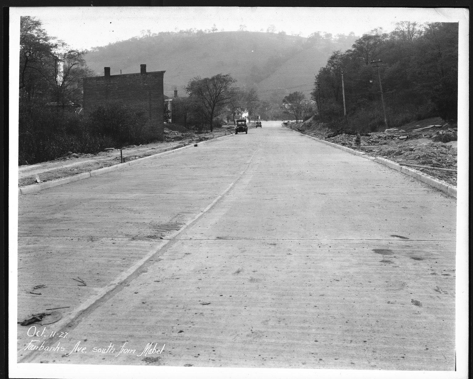 Street Improvement Photographs -- Box 23, Folder 14 (Fairbanks Avenue) -- print, 1927-10-11