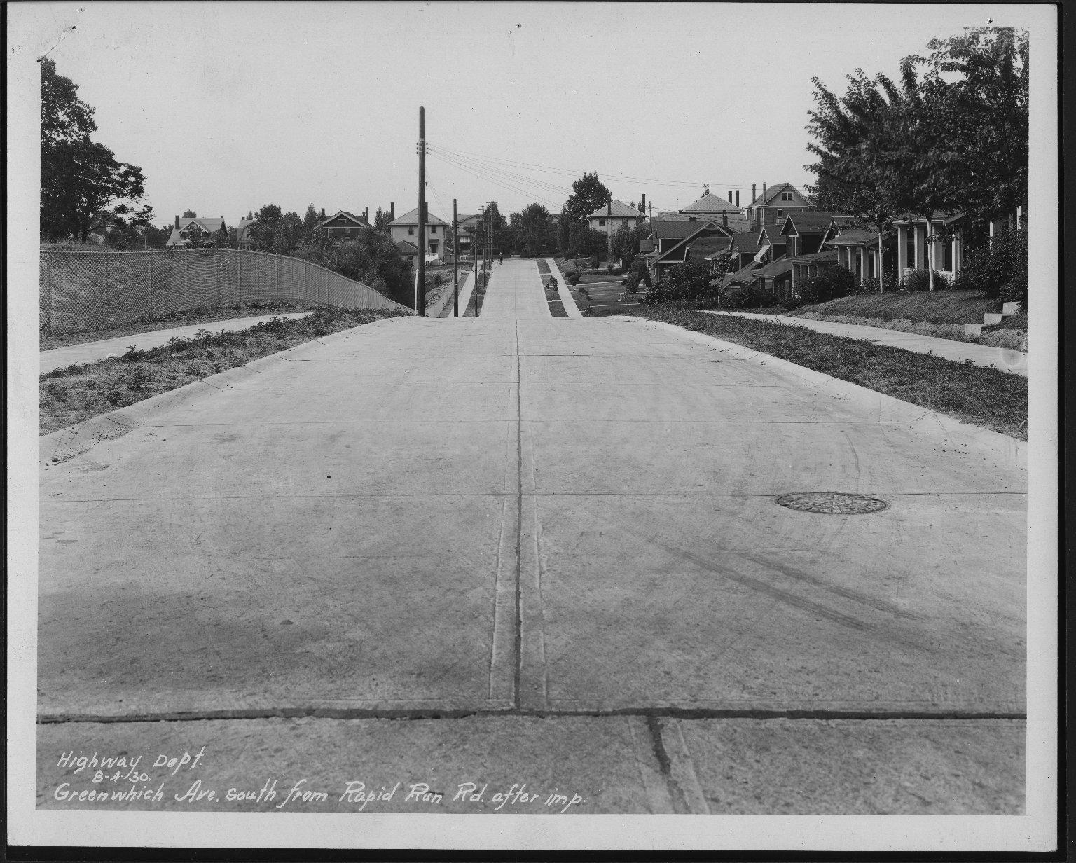 Street Improvement Photographs -- Box 23, Folder 59 (Greenwich Avenue) -- print, 1930-08-04