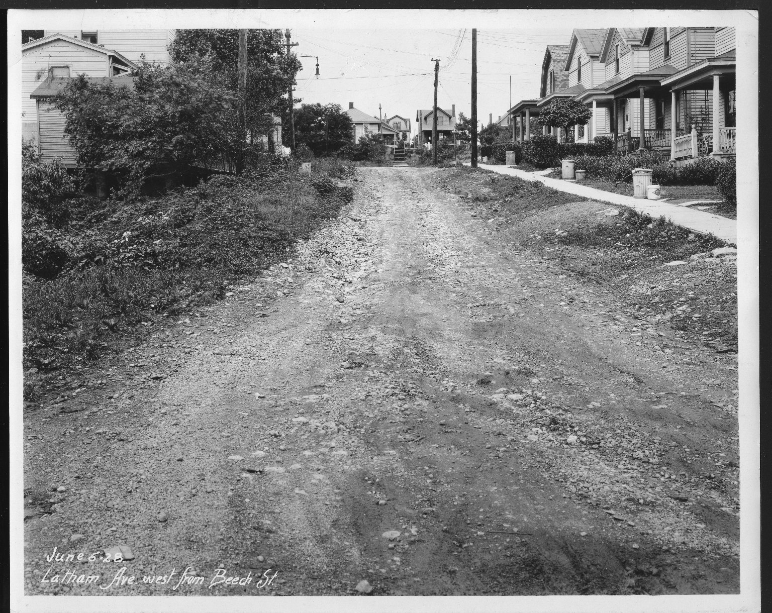 Street Improvement Photographs -- Box 25, Folder 44 (Latham Avenue) -- print, 1928-06-06