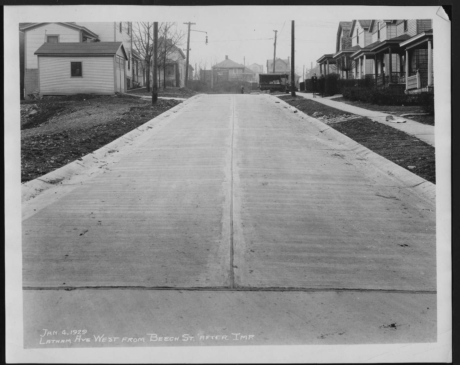 Street Improvement Photographs -- Box 25, Folder 44 (Latham Avenue) -- print, 1929-01-04