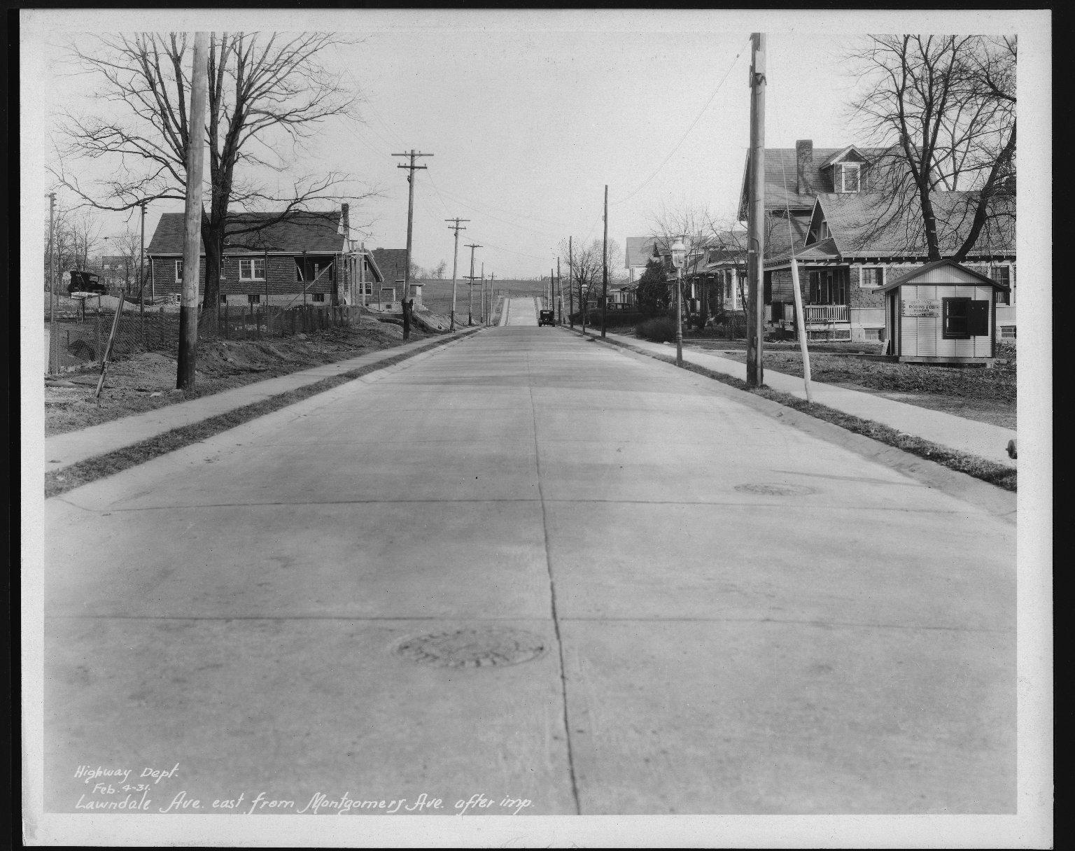 Street Improvement Photographs -- Box 25, Folder 52 (Lawndale Avenue) -- print, 1931-02-04