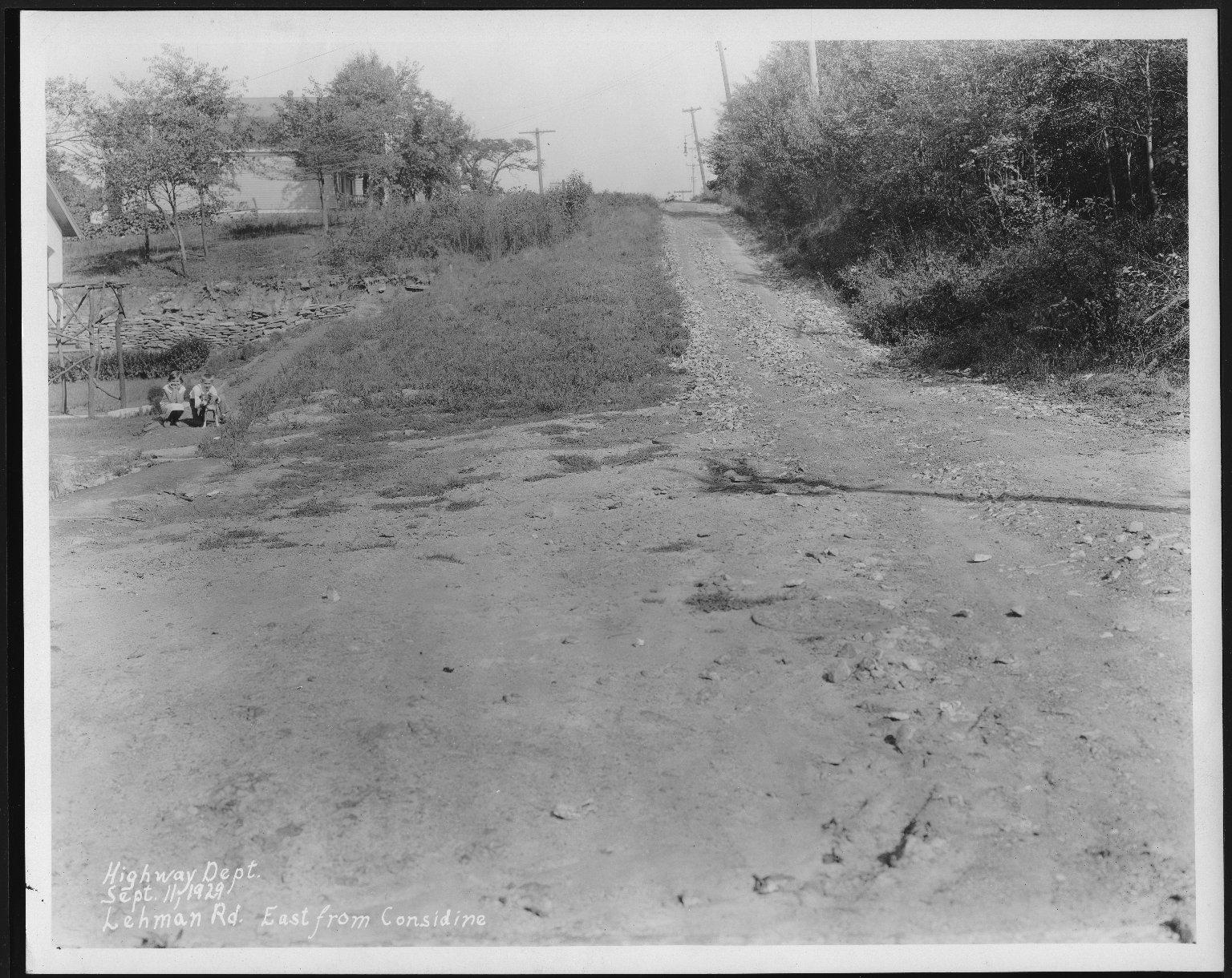 Street Improvement Photographs -- Box 25, Folder 53 (Lehman Road) -- print, 1929-09-11