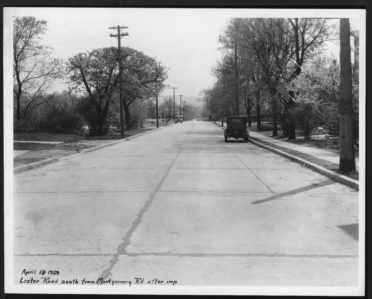 Street Improvement Photographs -- Box 25, Folder 54 (Lester Road) -- print, 1929-08-19