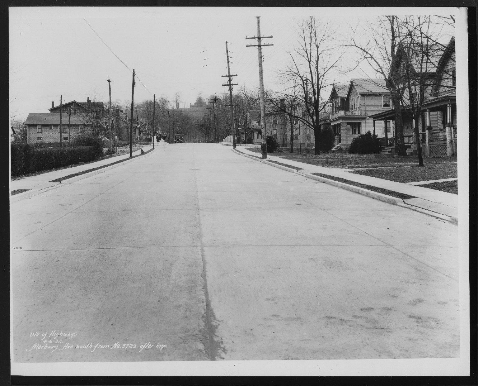 Street Improvement Photographs -- Box 26, Folder 31 (Marburg Avenue) -- print, 1932-04-06