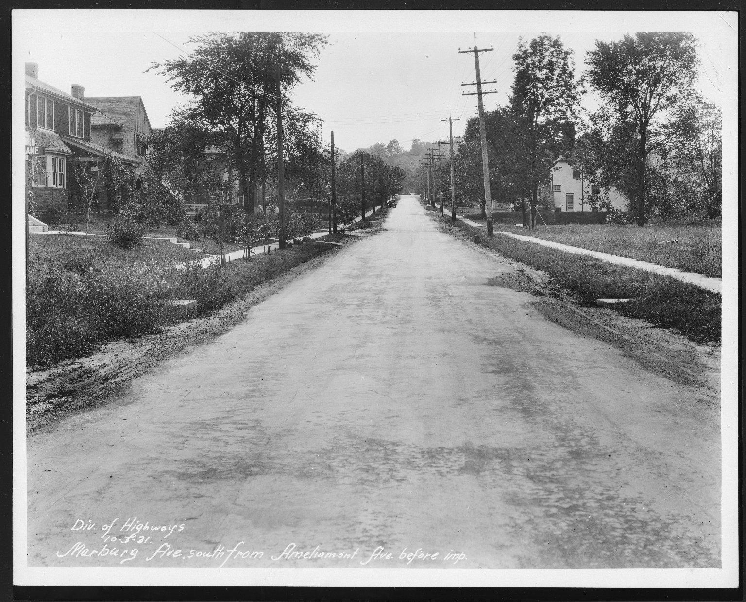 Street Improvement Photographs -- Box 26, Folder 31 (Marburg Avenue) -- print, 1931-10-03