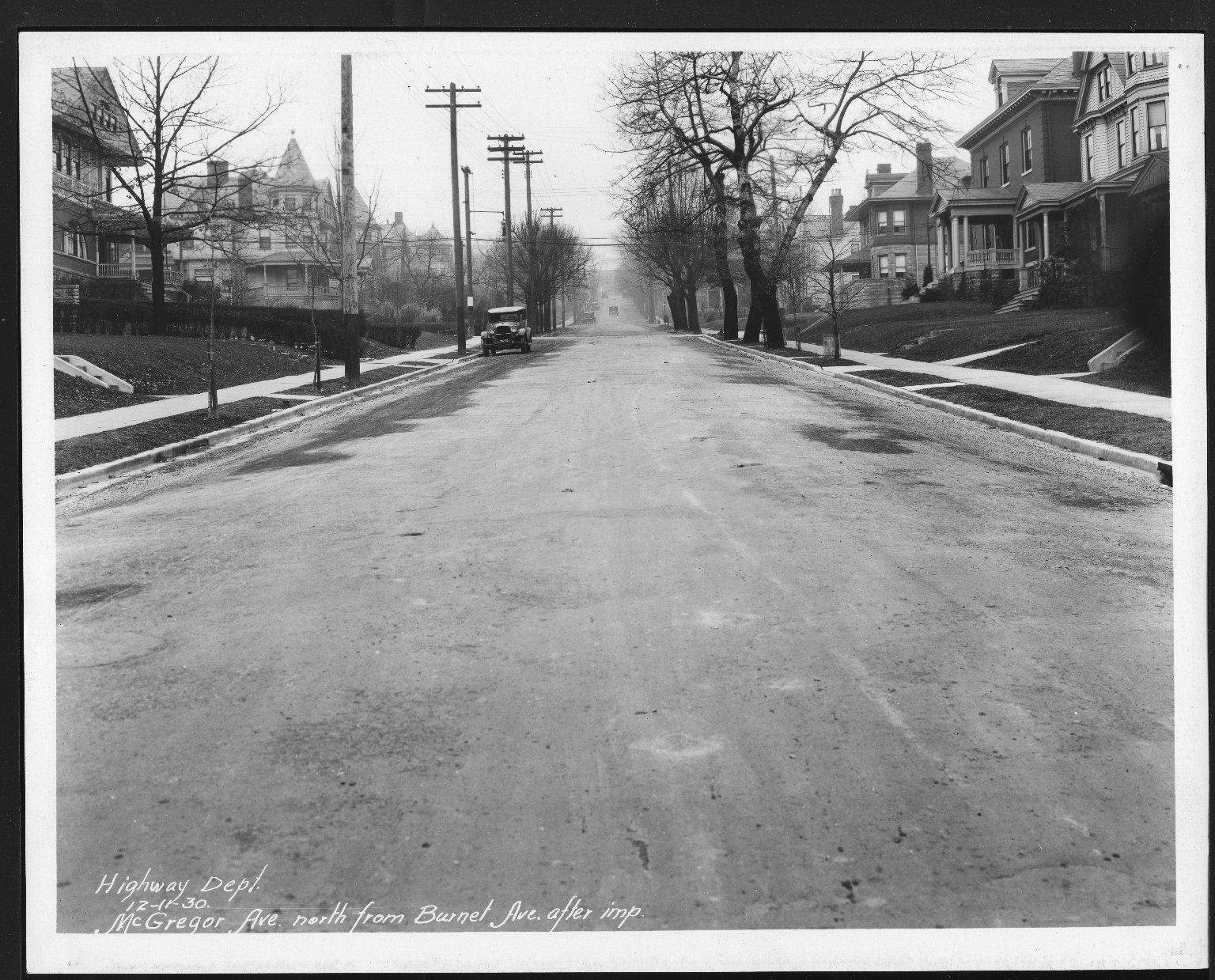 Street Improvement Photographs -- Box 26, Folder 41 (McGregor Avenue) -- print, 1930-12-11