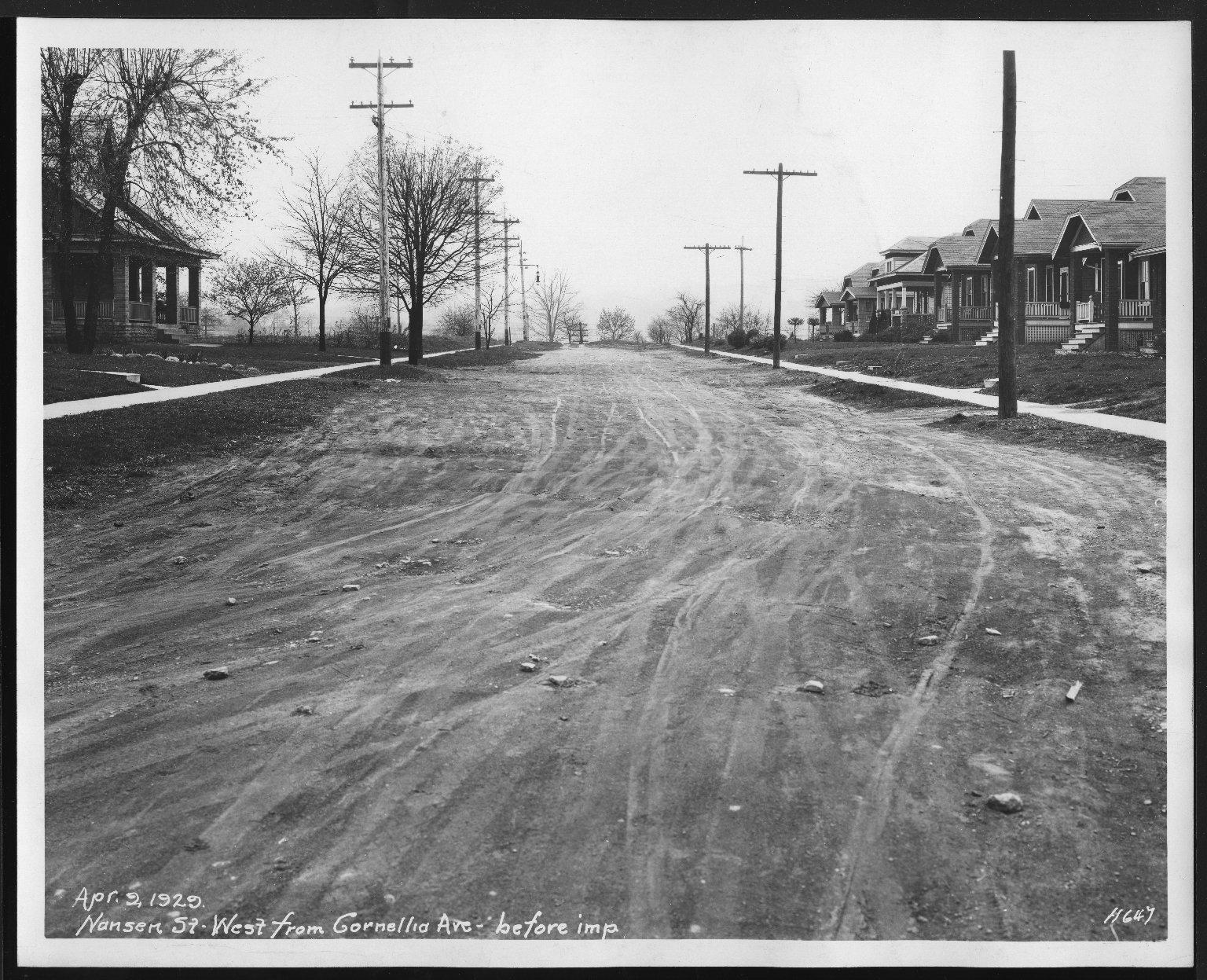 Street Improvement Photographs -- Box 27, Folder 17 (Nansen Street) -- print, 1929-04-09