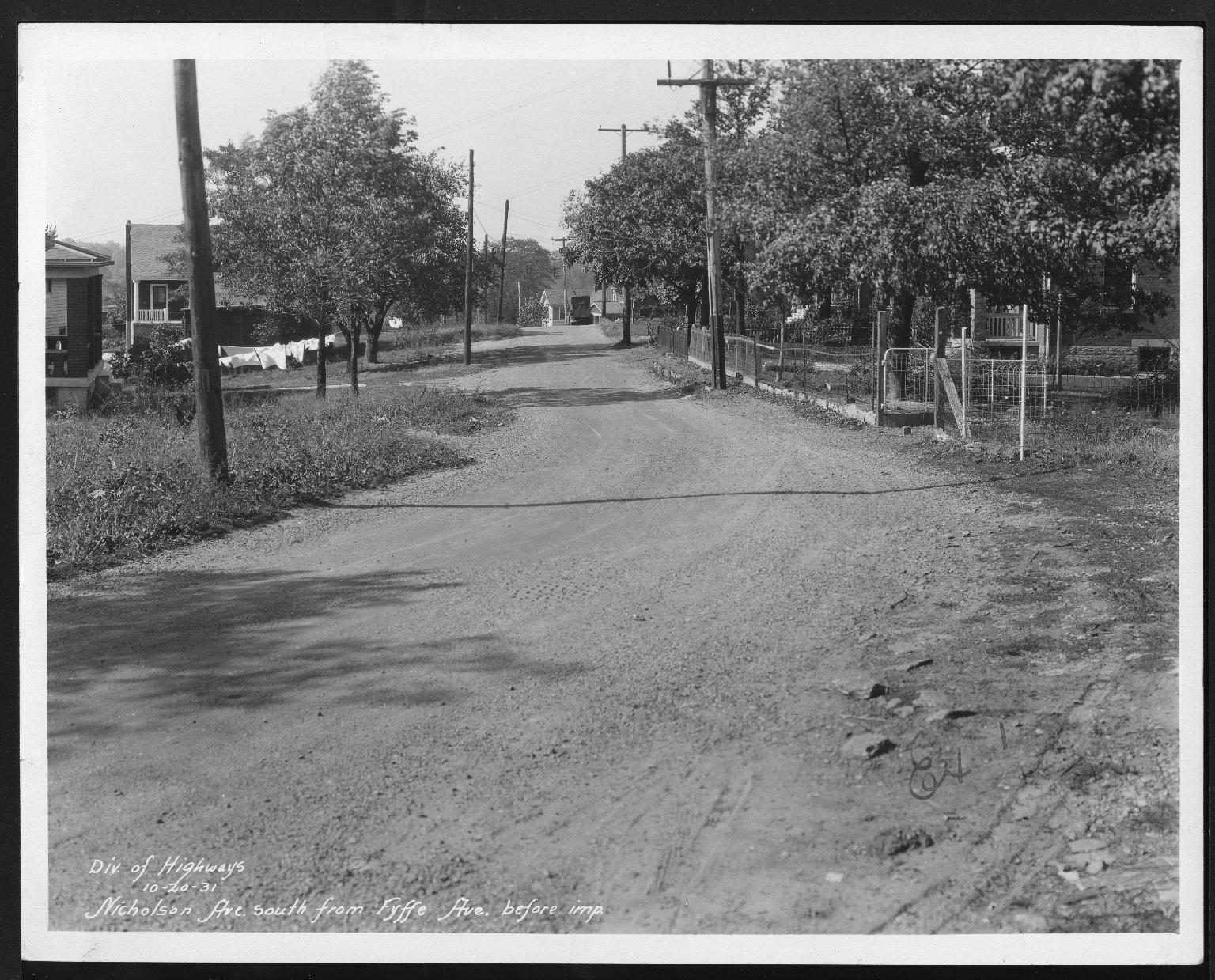 Street Improvement Photographs -- Box 27, Folder 20 (Nicholson Avenue) -- print, 1931-10-20